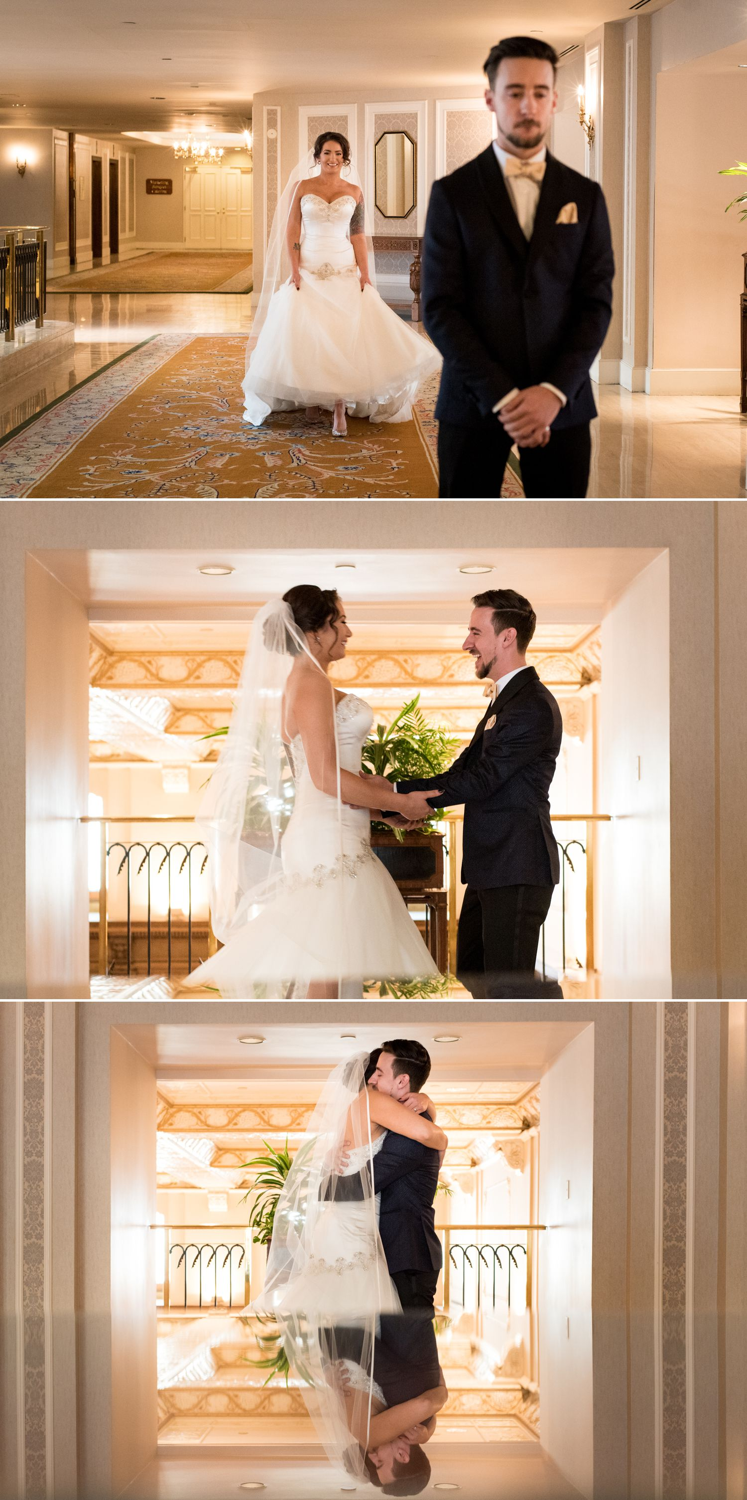 The bride and the groom during their 'First Look' at the Chateau Laurier