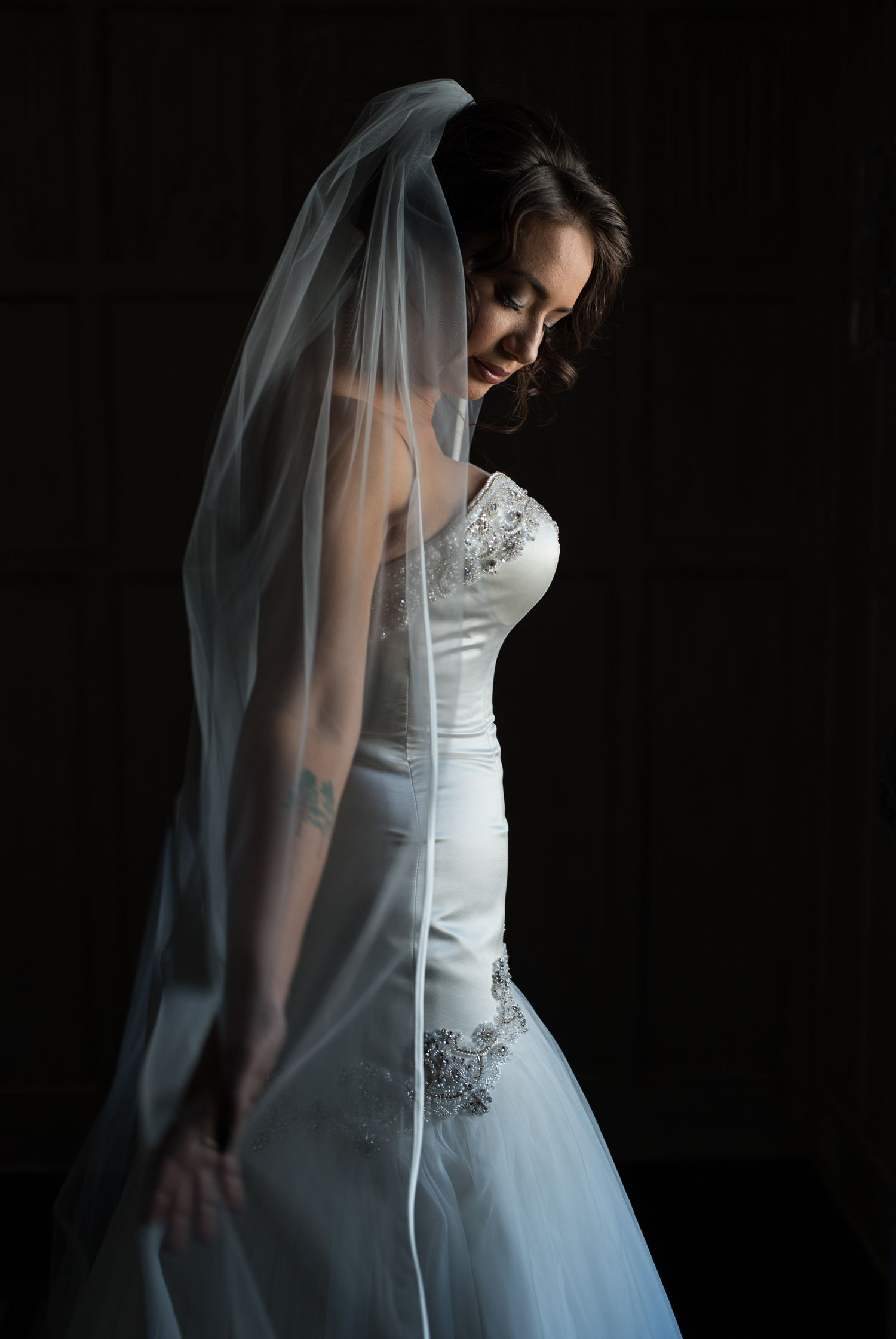 A portrait of the bride before the ceremony