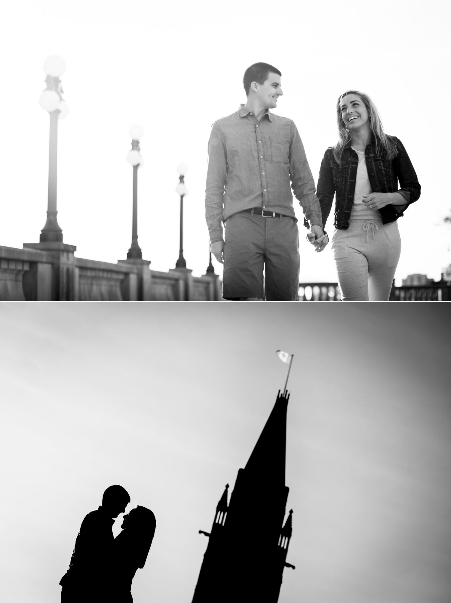 Photos from an engagement shoot at the Ottawa Parliament Buildings