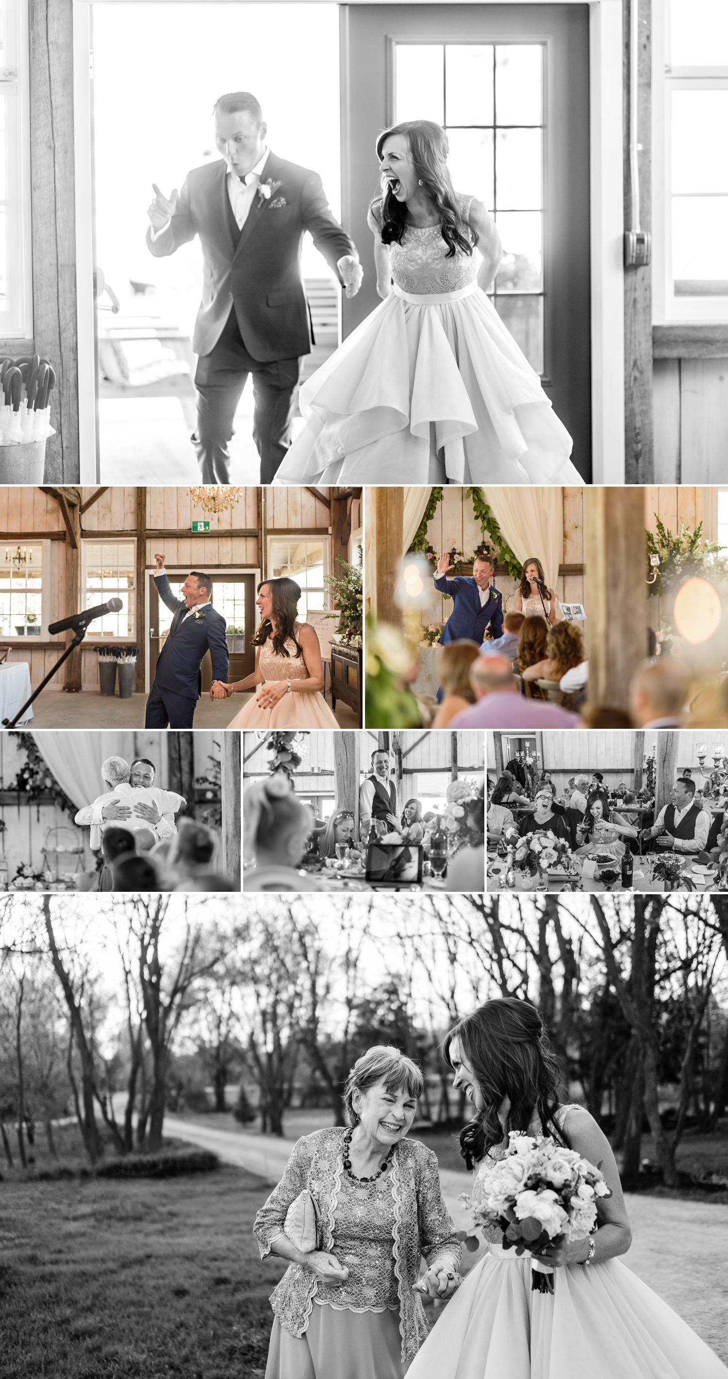 candid moments during stephanie and steve's reception at stonefields heritage barn wedding
