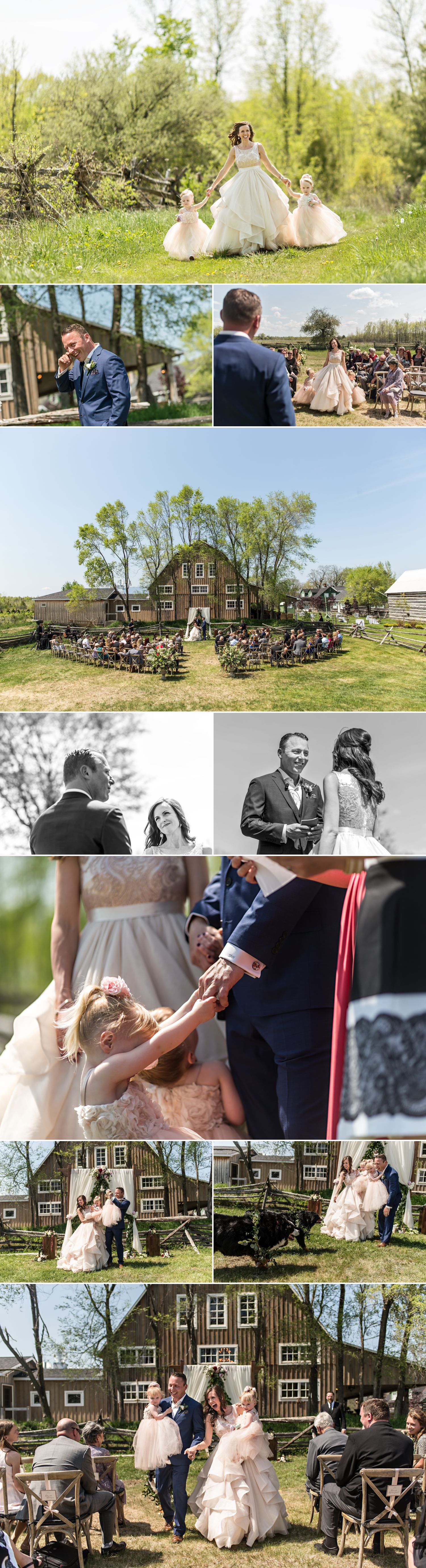 candid moments at stephanie steve wedding ceremony at stonefields heritage new barn