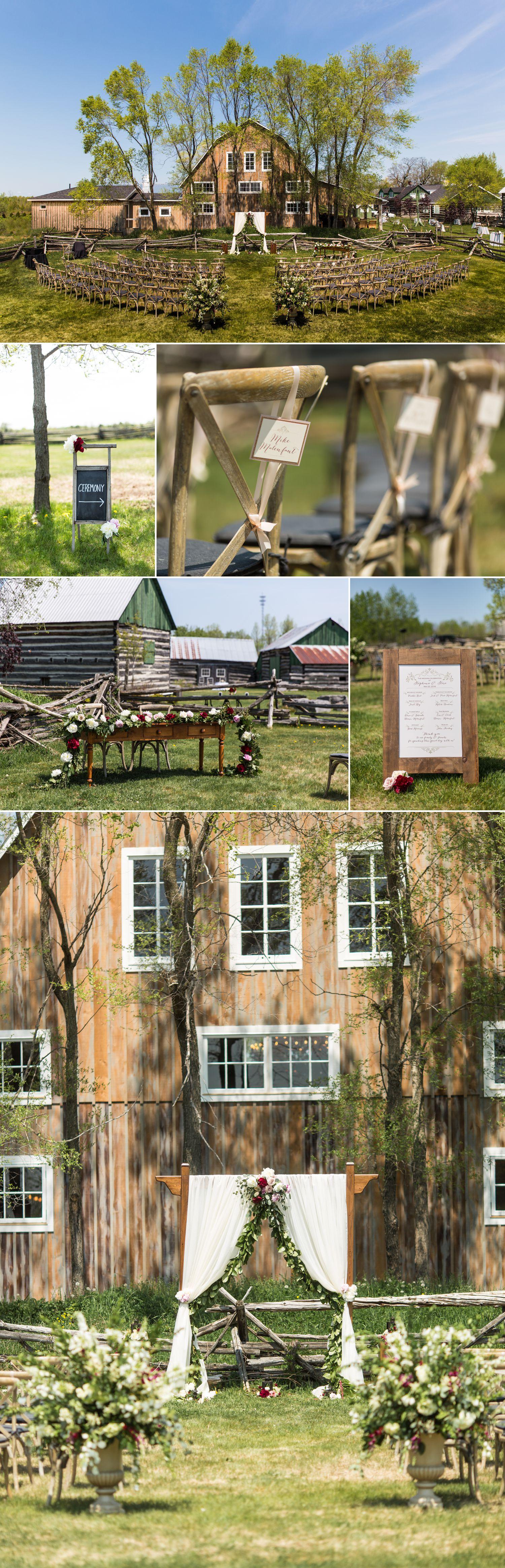 wedding ceremony details at stephanie and steve stonefields heritage barn wedding