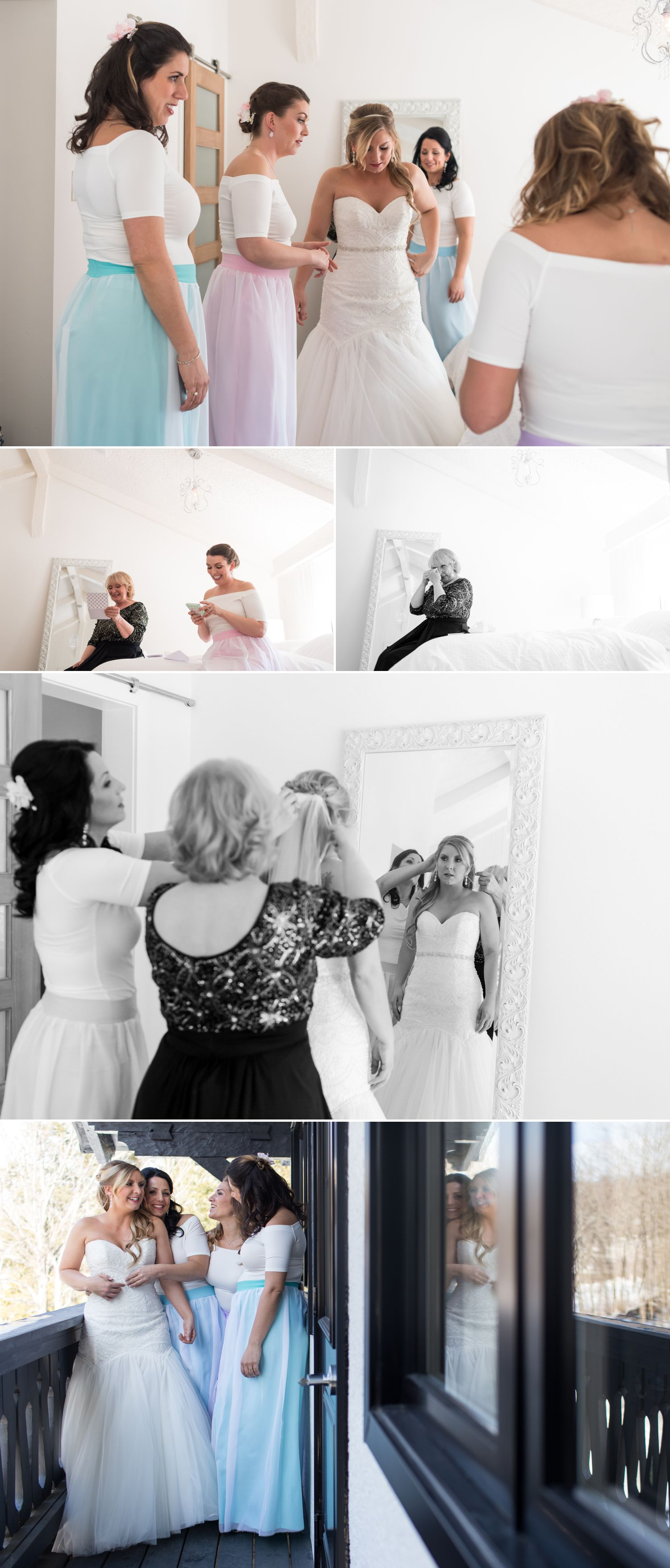 The bride with her mother and bridesmaids getting ready at Le Belvedere
