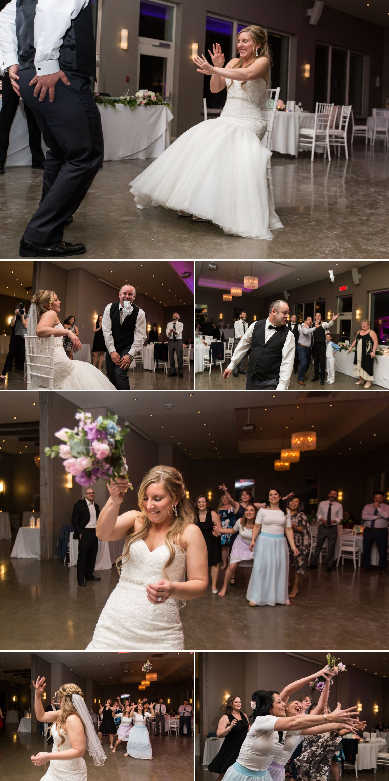 The bride and groom doing their bouquet and garter toss during their reception at Le Belvedere