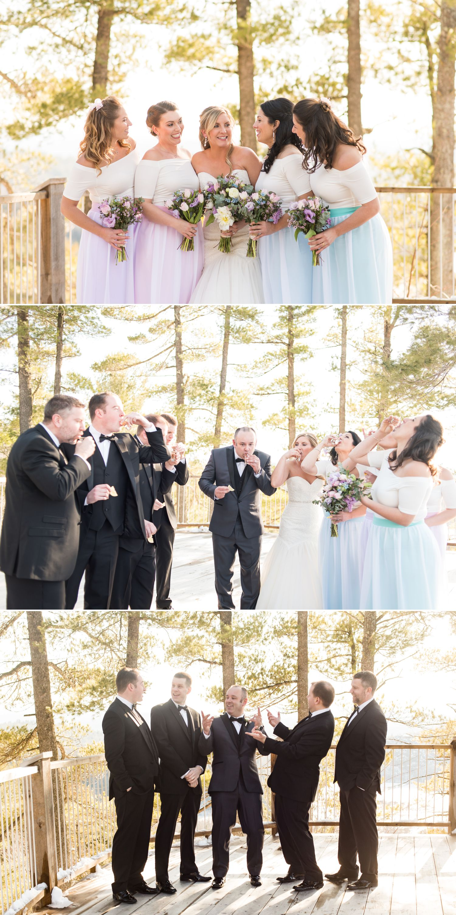 Group photos of the Bridesmaids and Groomsmen and then the group taking a shot together