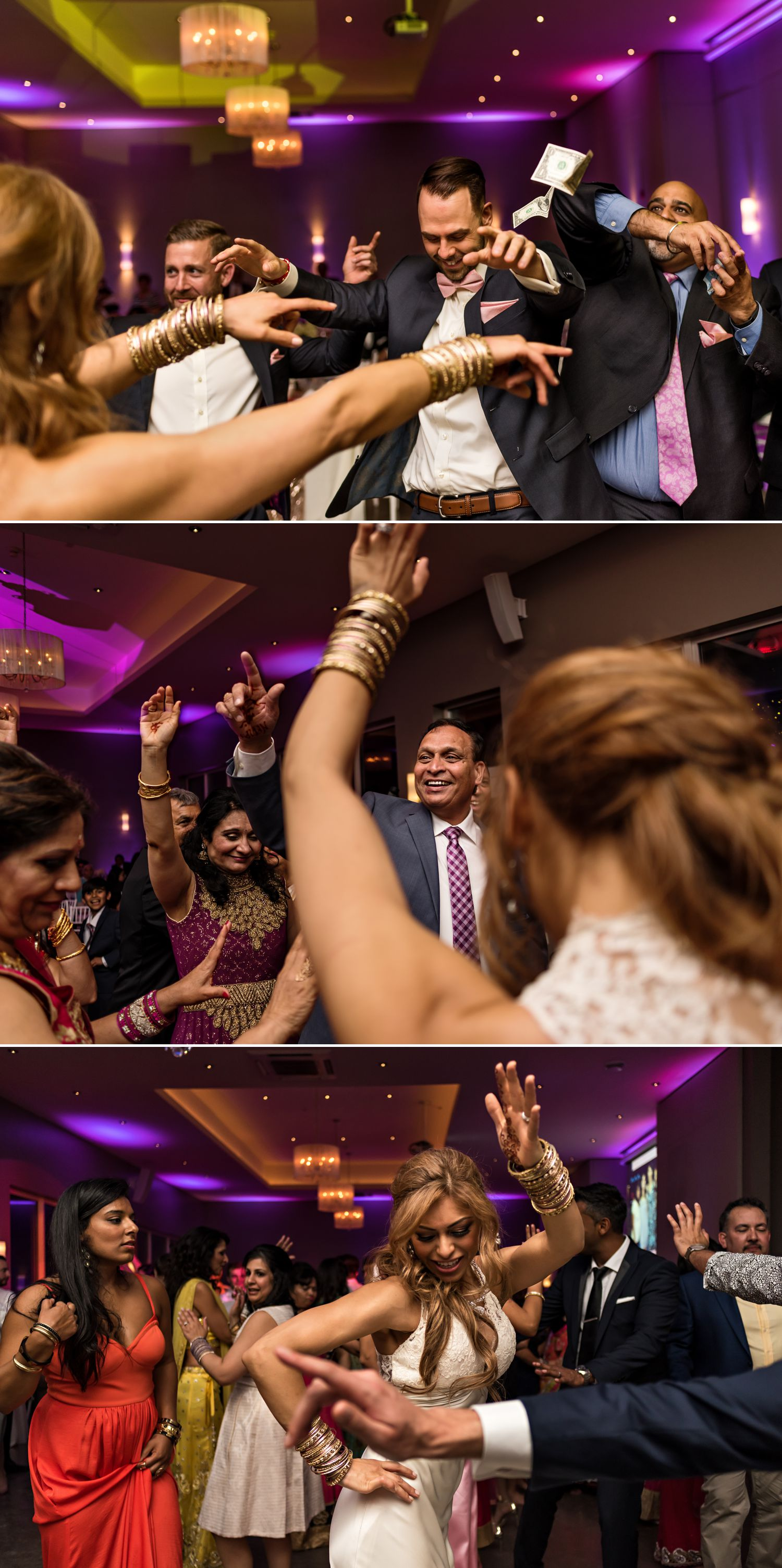 The bride and groom dancing with guests at their wedding reception at Le Belvedere