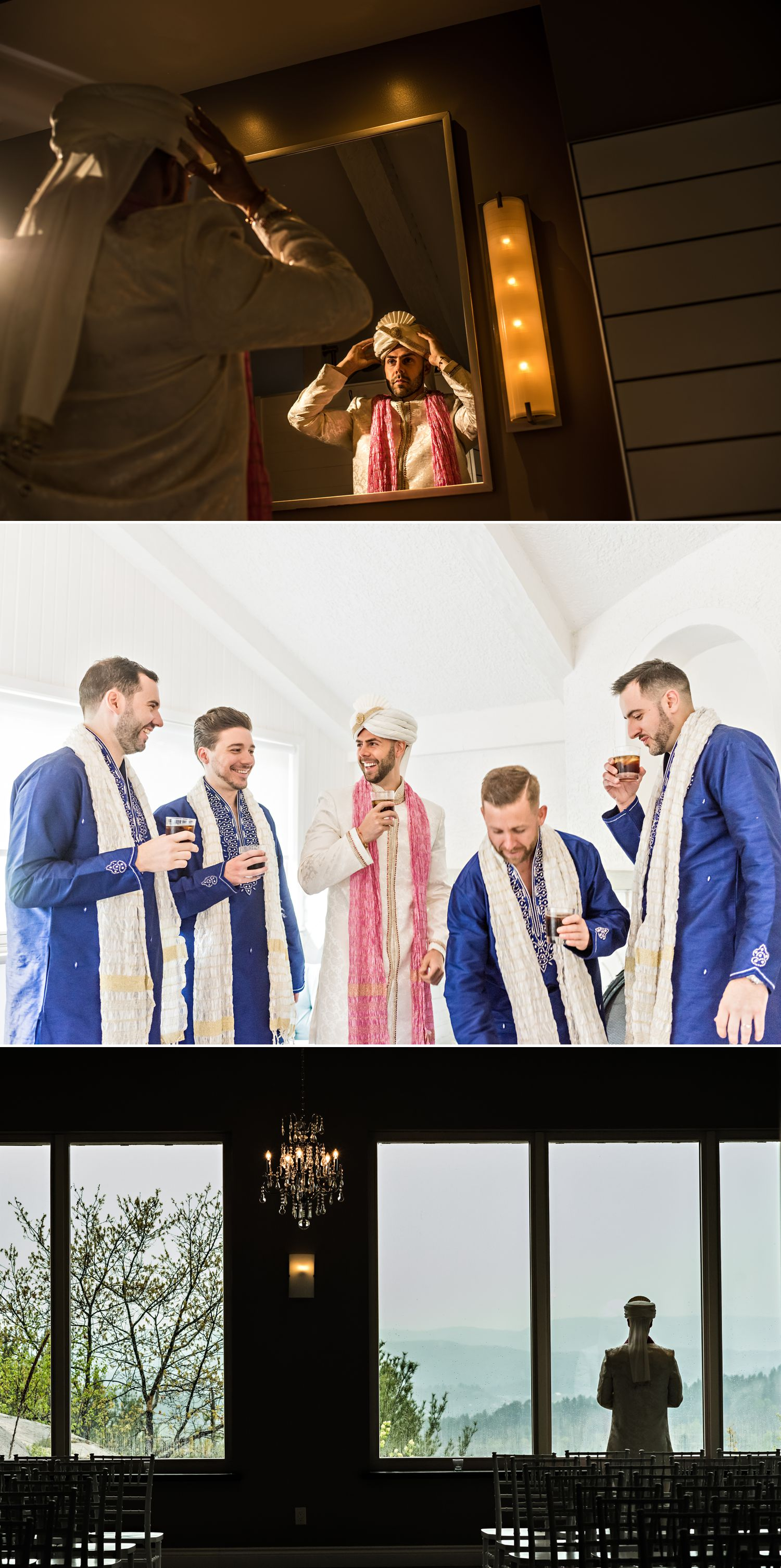 The groom with his groomsmen getting ready in their traditional Indian wedding clothes