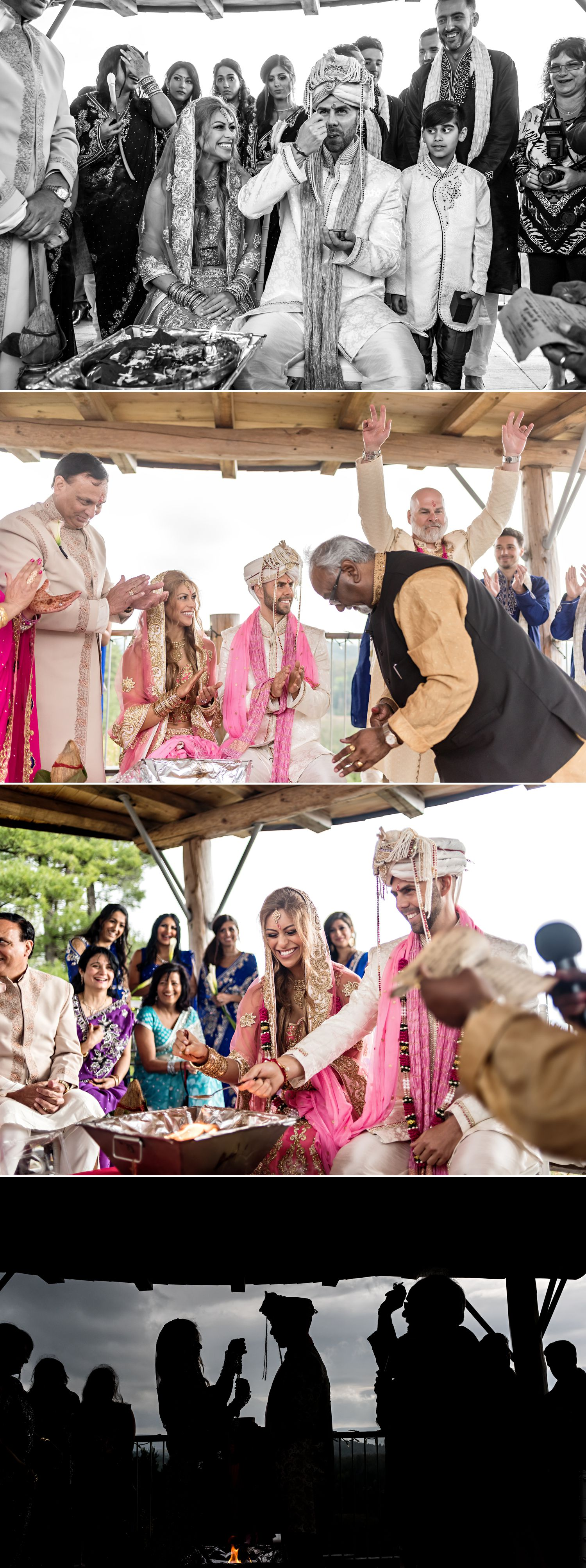 The bride and groom during their traditional Indian wedding ceremony