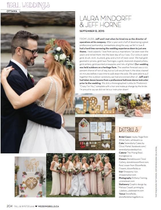 Feature Wedding in Weddingbells Magazine