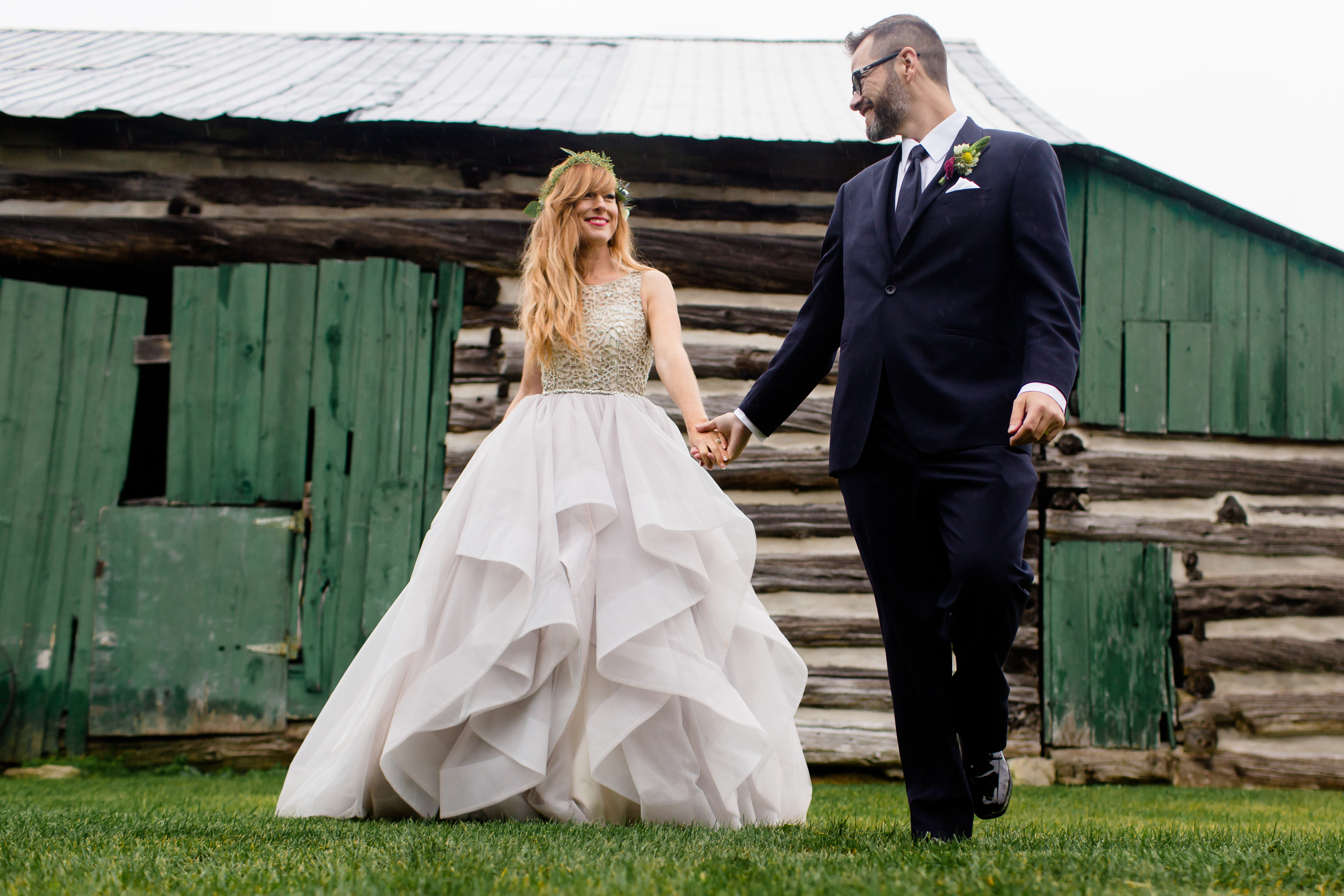 The bride and groom during their portrait session at Stonefields