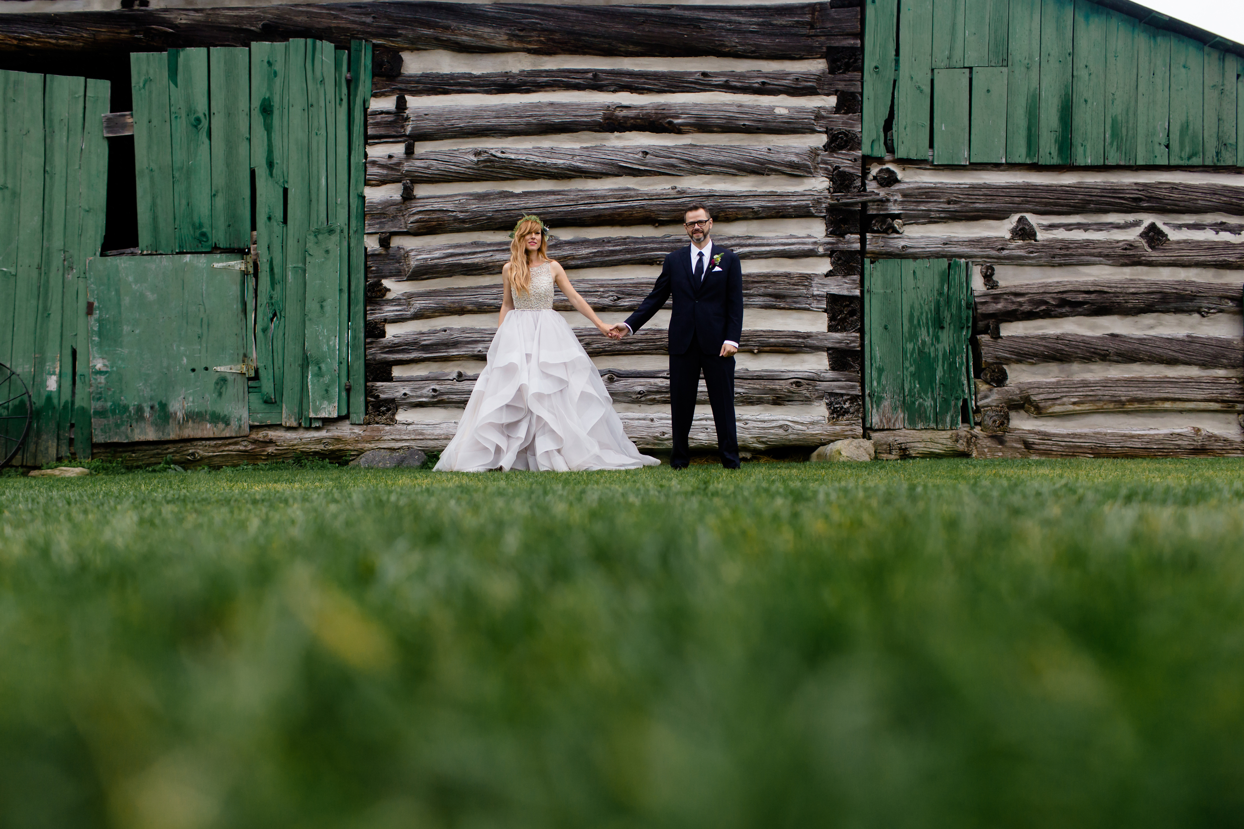 A portrait of the couple during their wedding at Stonefields