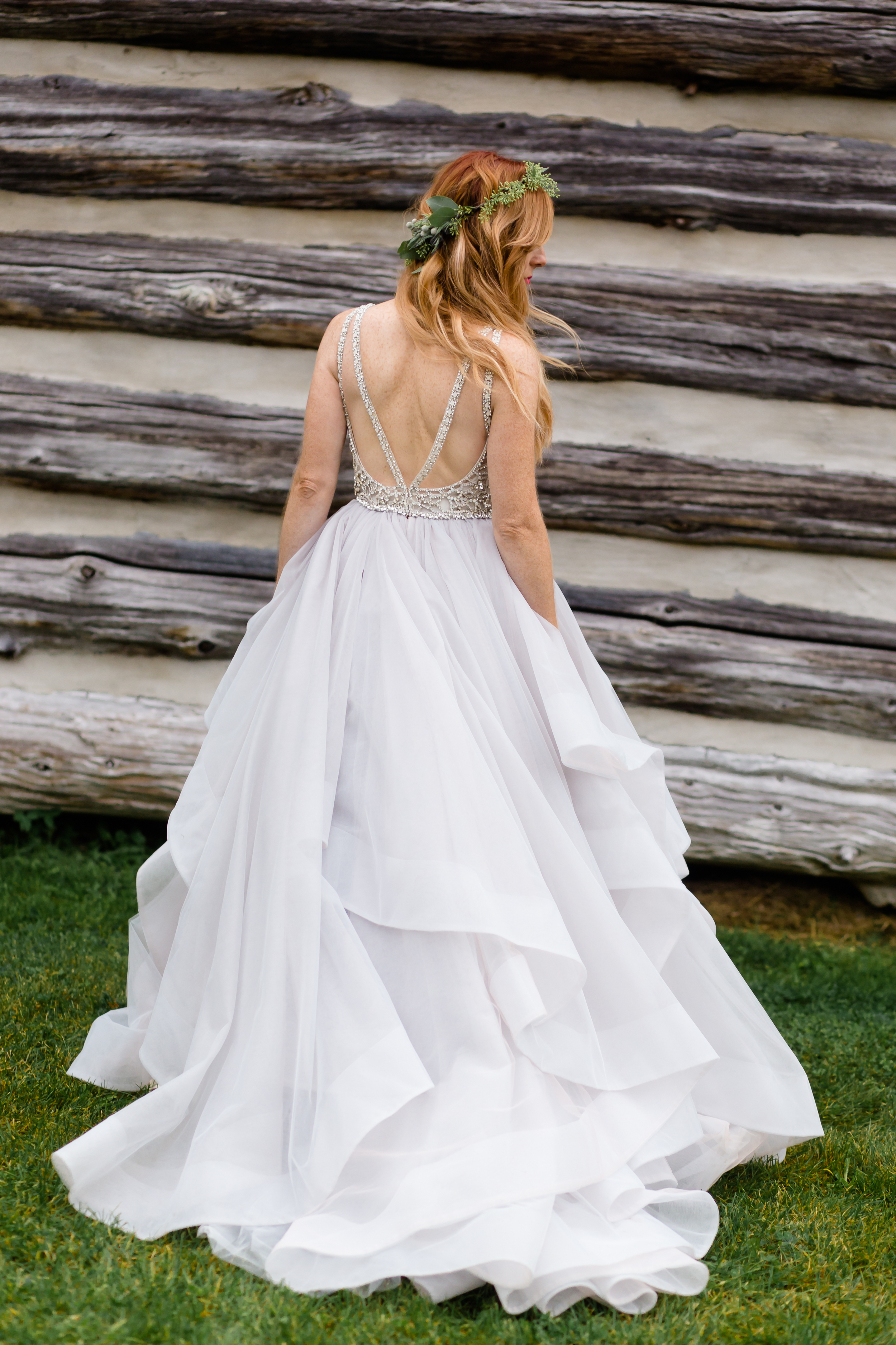 A portrait of the bride in her wedding dress