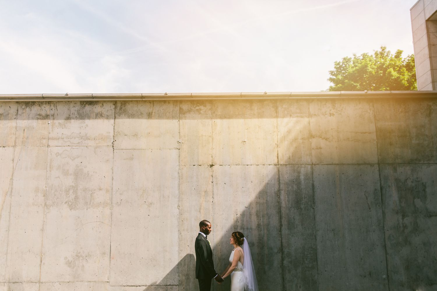 Portrait of the bride and groom at the Museum of Nature