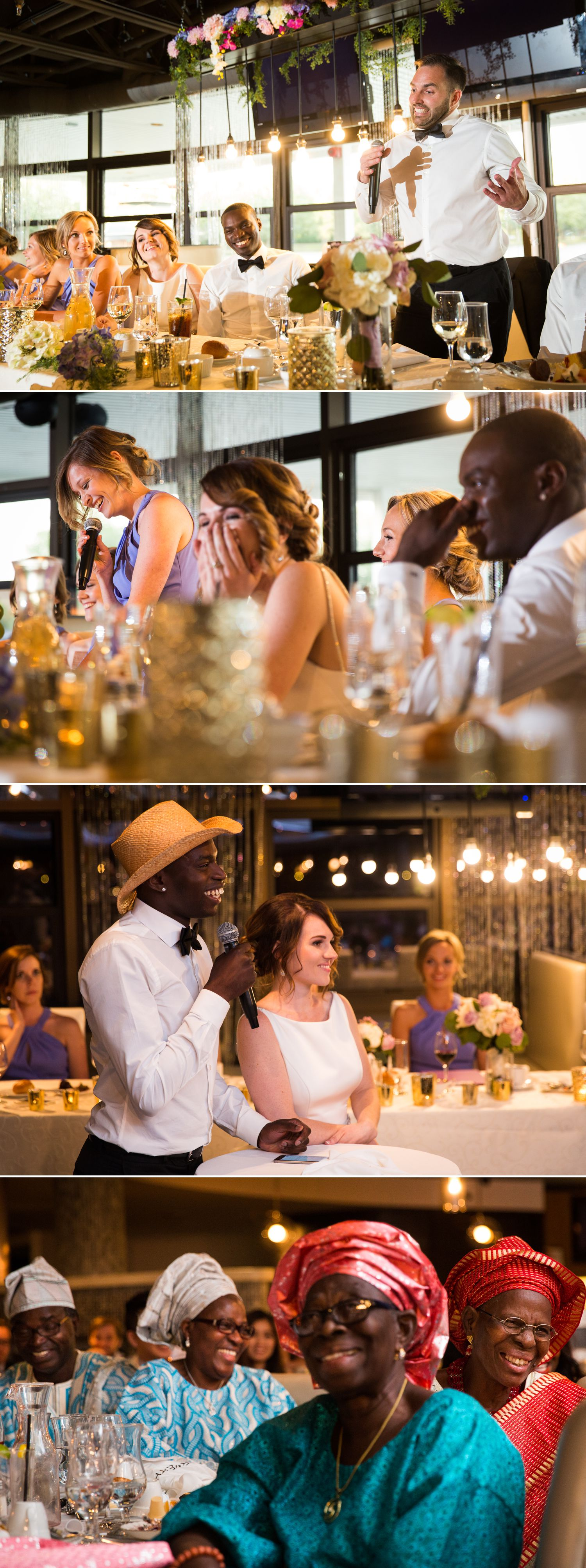 The bride and groom enjoying the speeches during their wedding reception at Lago