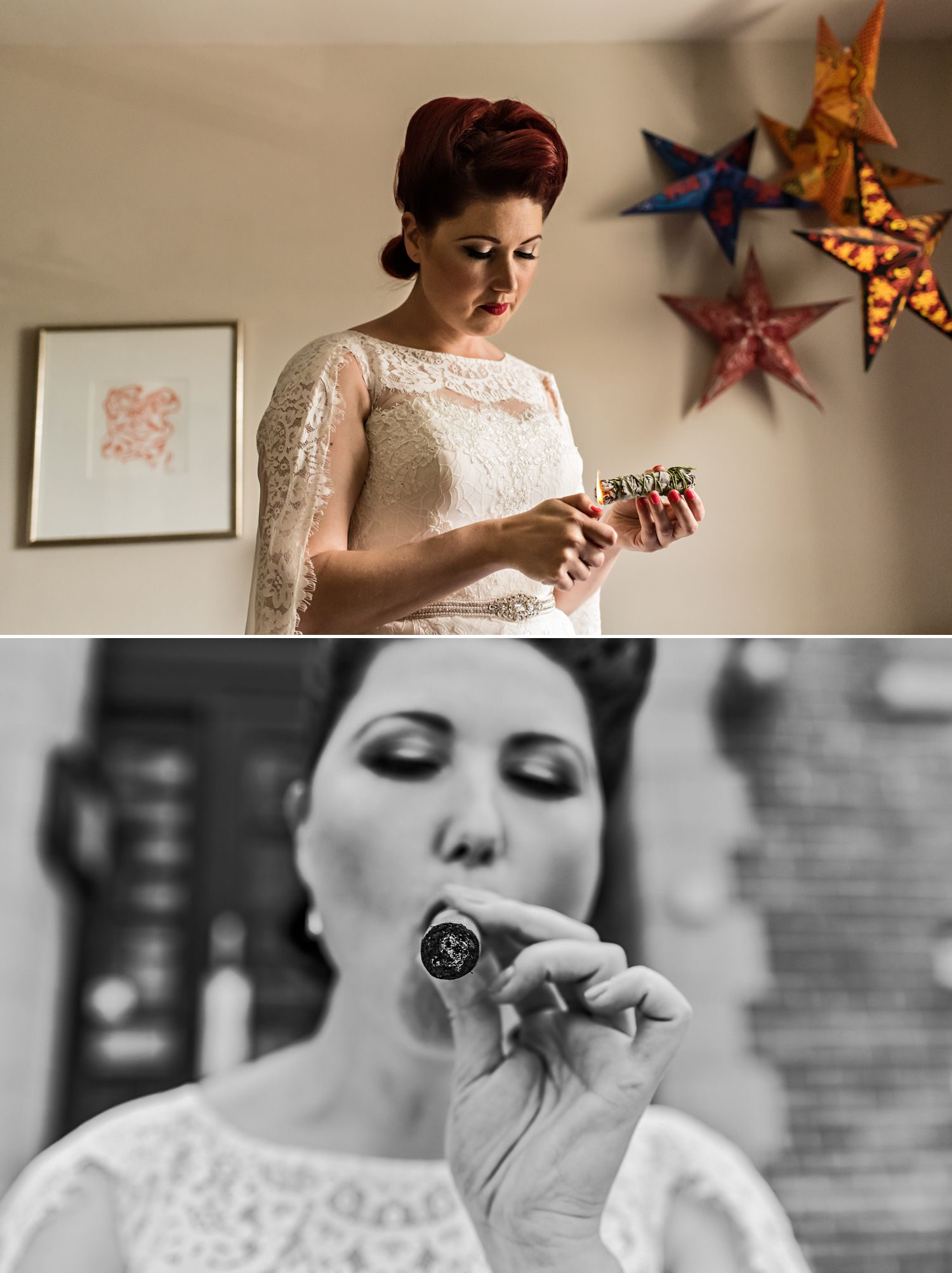 bride having smudging ceremony and also smoking a cigar