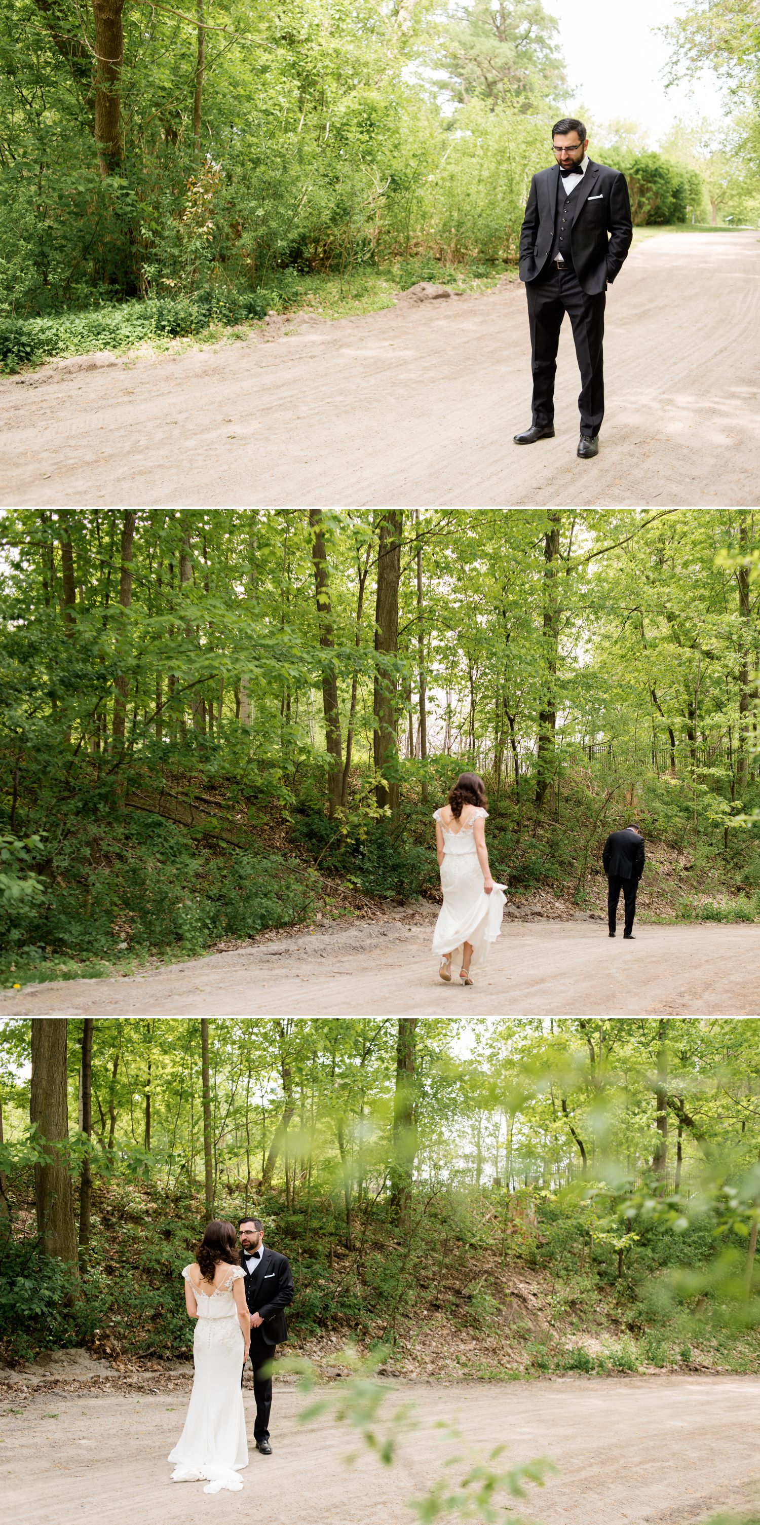The Bride and Groom during their first look at Billings Estate