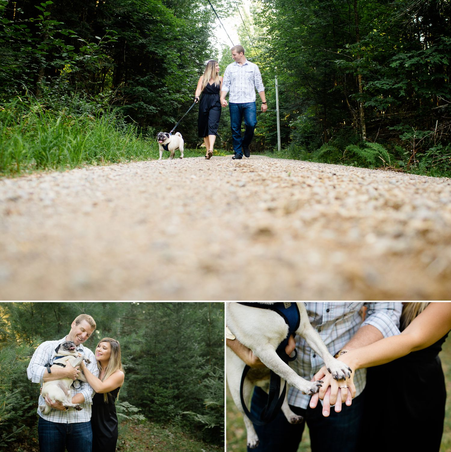 Ashley and Steve walking their pug during their engagement shoot
