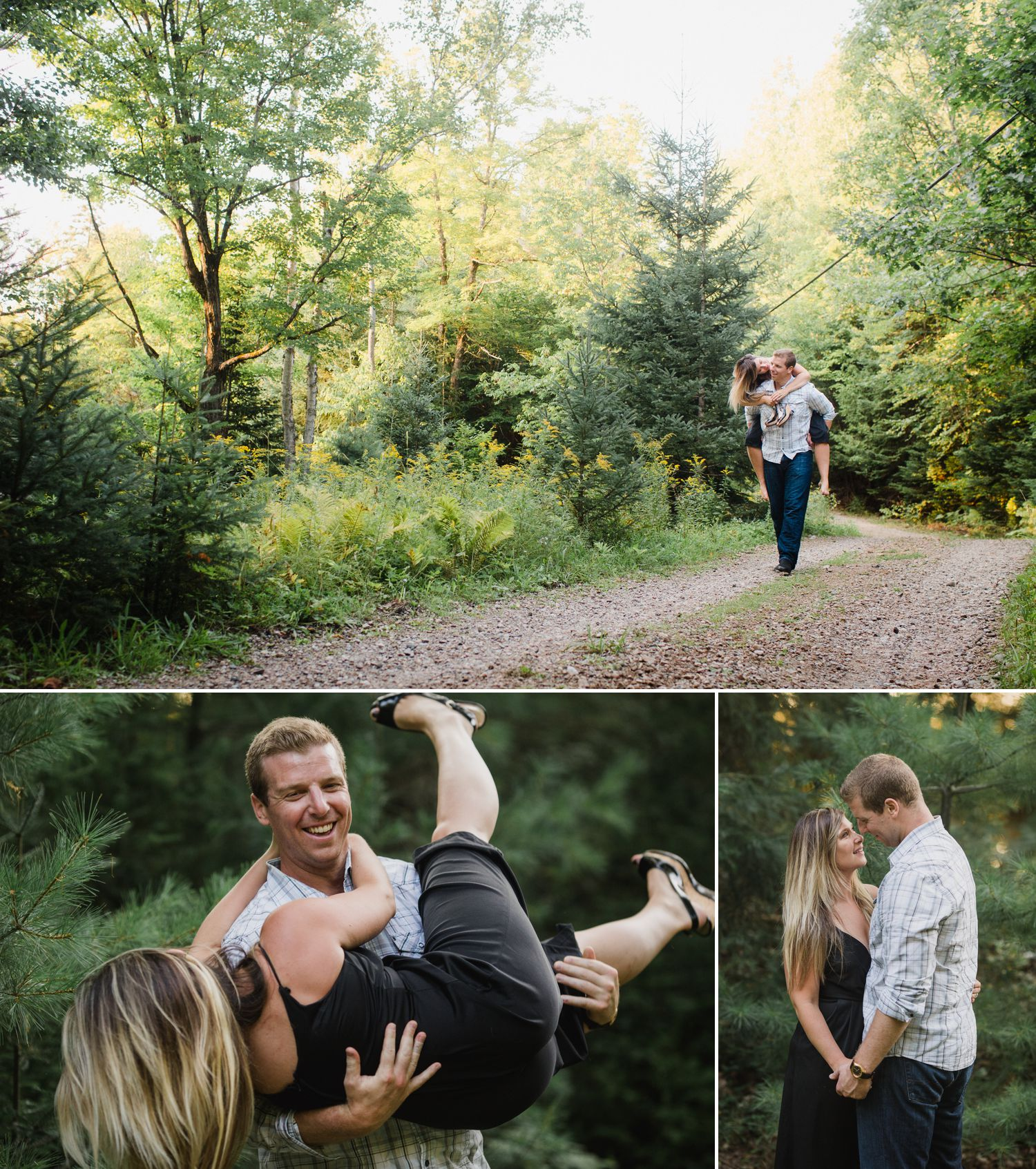 Steve carrying Ashley down the trail to their cottage during their engagement shoot