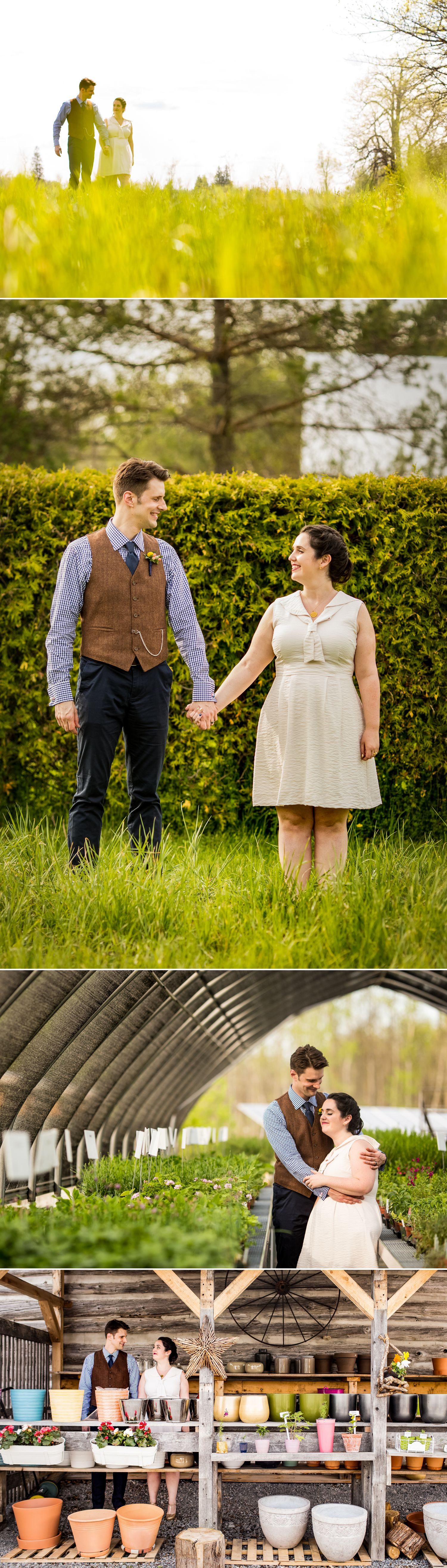 Portraits of the bride and groom after their wedding ceremony at The Herb Garden