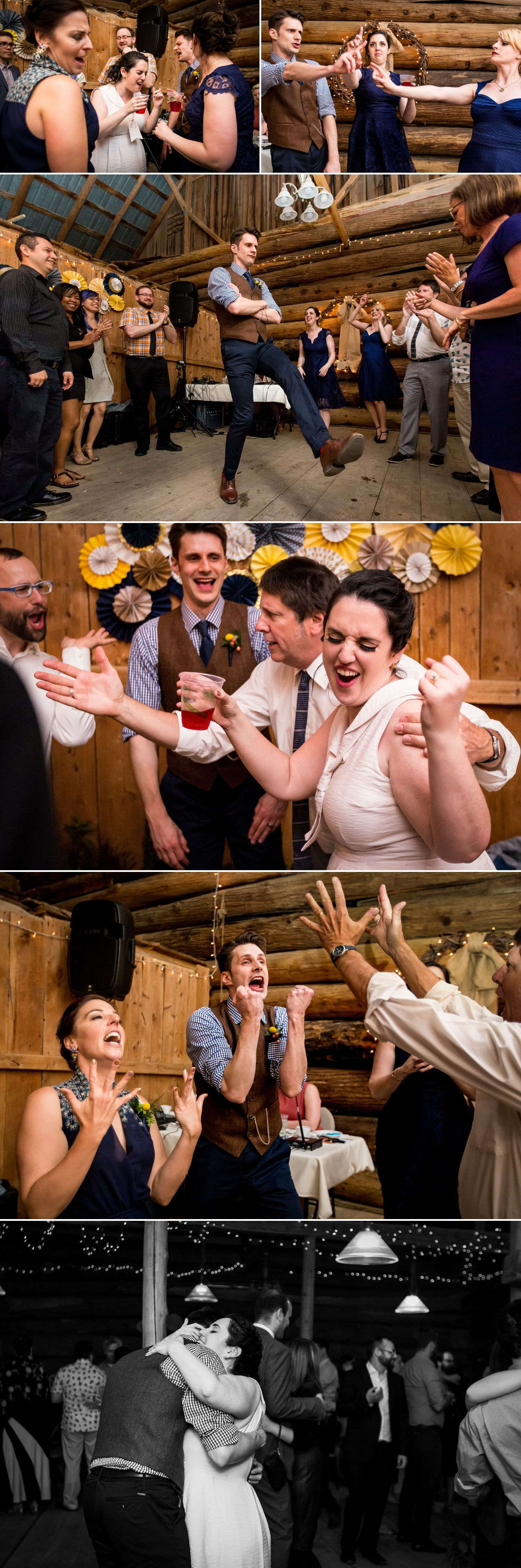 The bride and groom and their guests dancing during their wedding reception at The Herb Garden in Almonte