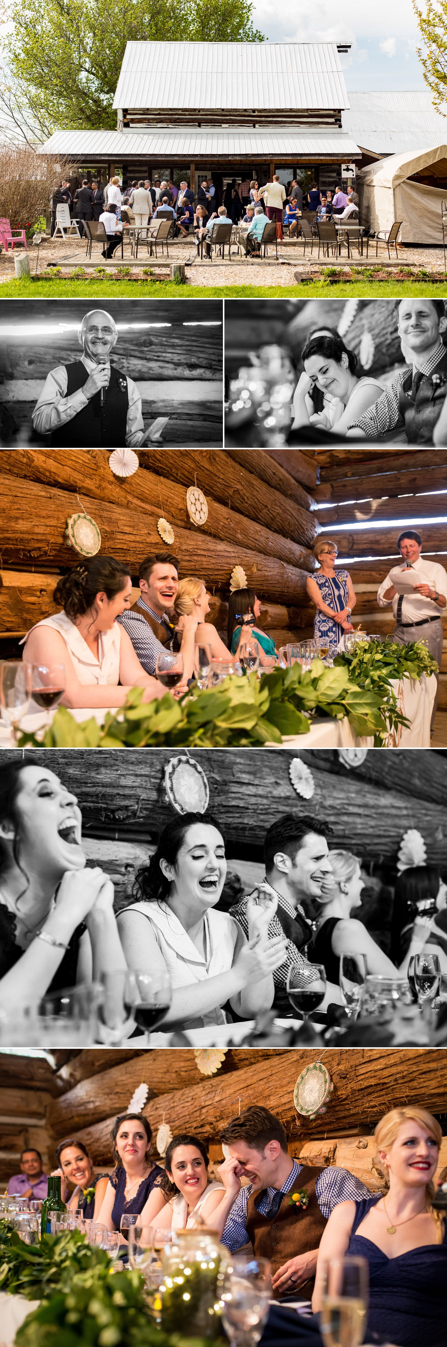 The bride and groom enjoying speeches during their wedding reception at The Herb Garden in Almonte