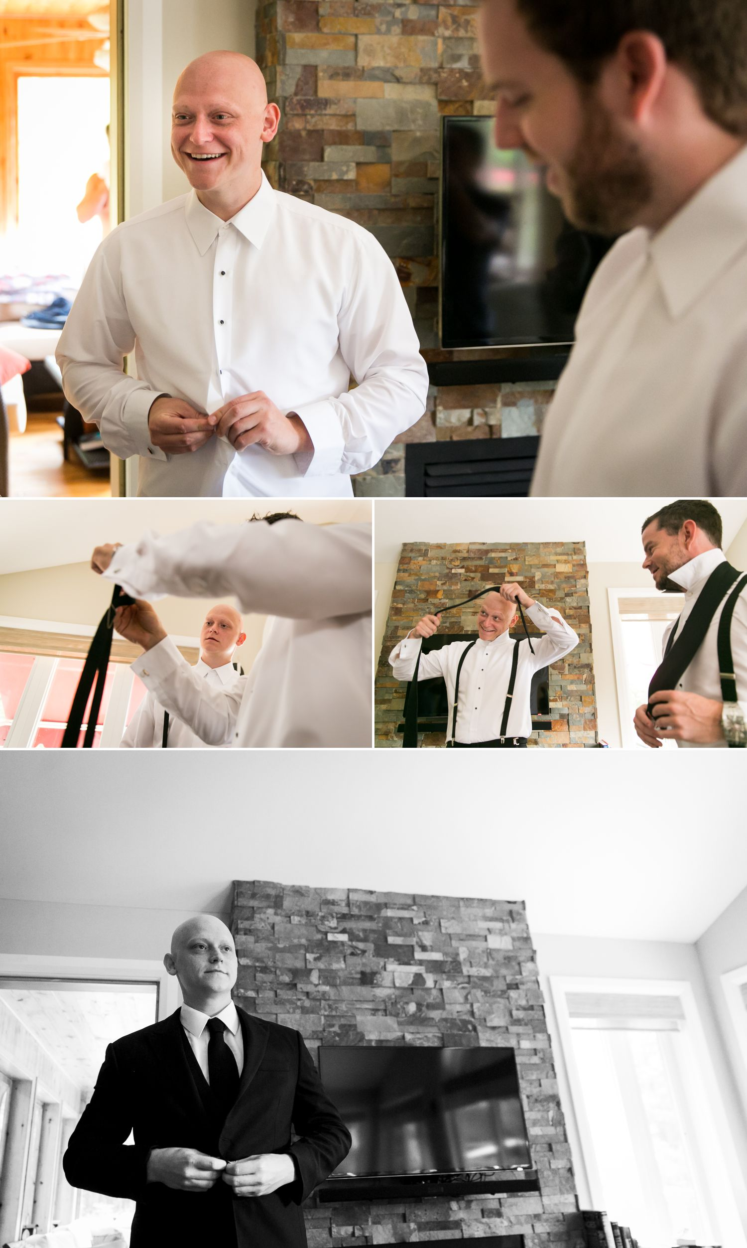 A photograph of the groom and groomsmen getting ready for the wedding