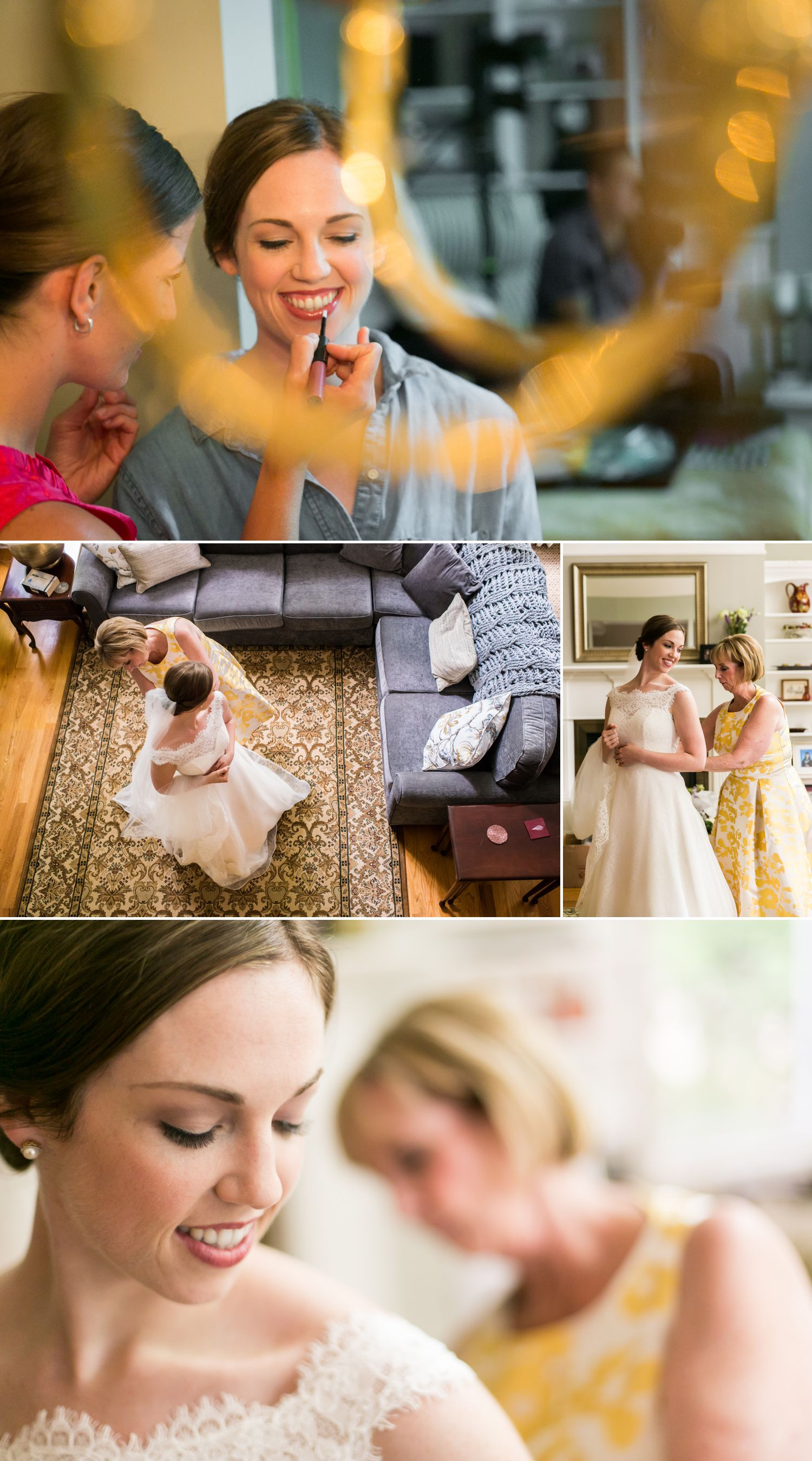 Photographs of the bride and bridesmaids getting ready for the wedding.