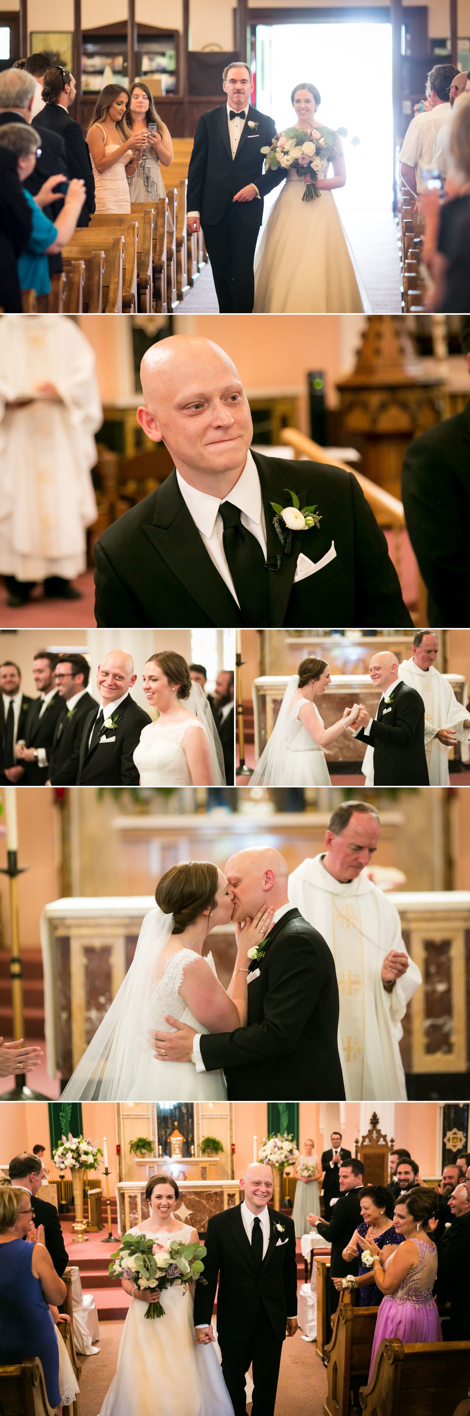 The groom's first look and their first kiss.