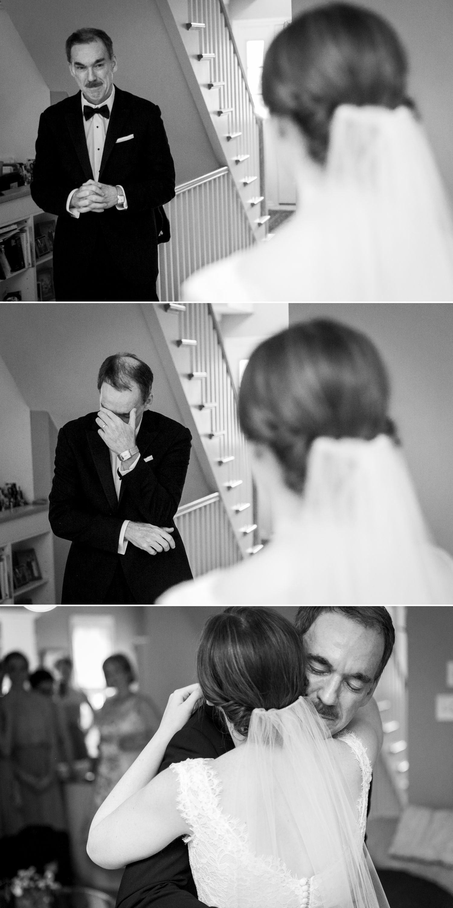 The bride's Father seeing her in her wedding dress for the first time