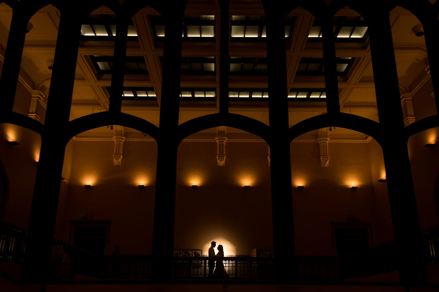 A night portrait of the bride and groom after their wedding at the Museum of Nature, Ottawa