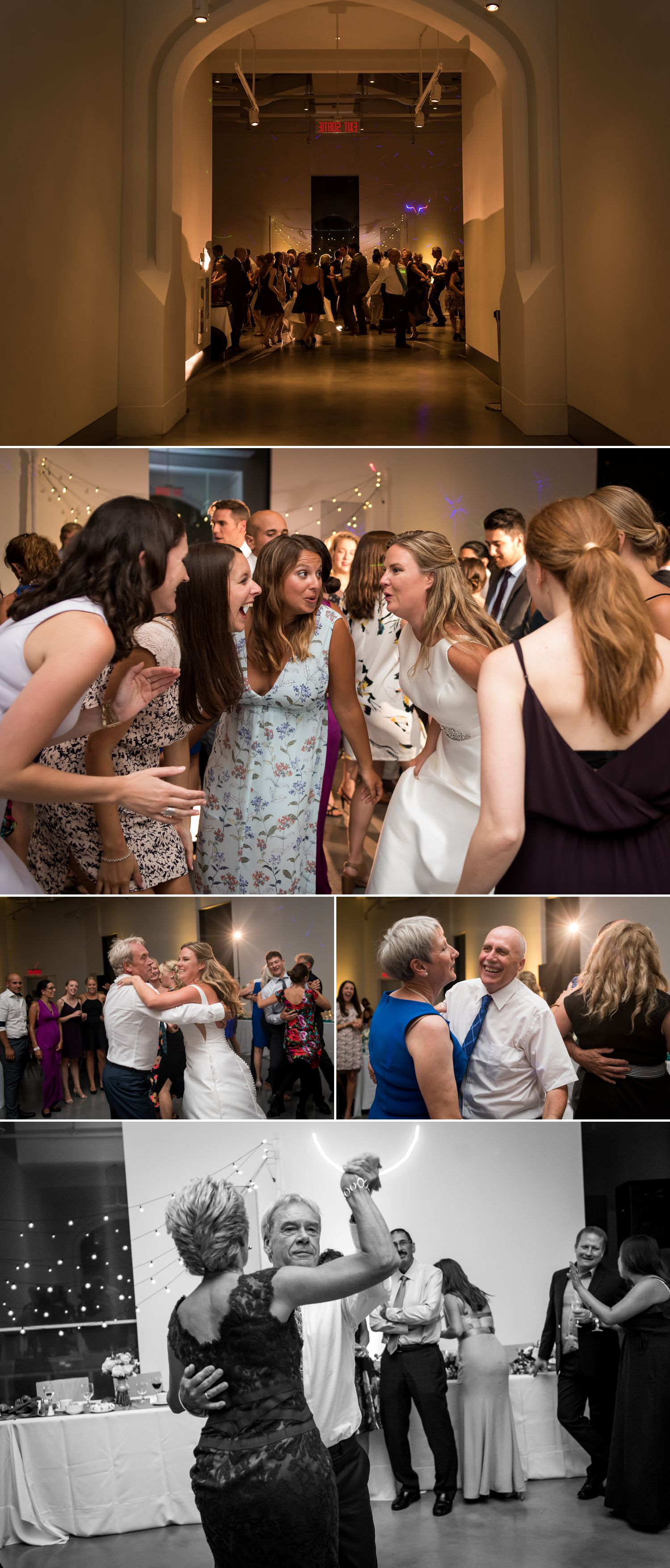 The bride and groom and their guests dancing at their wedding reception at the Museum of Nature