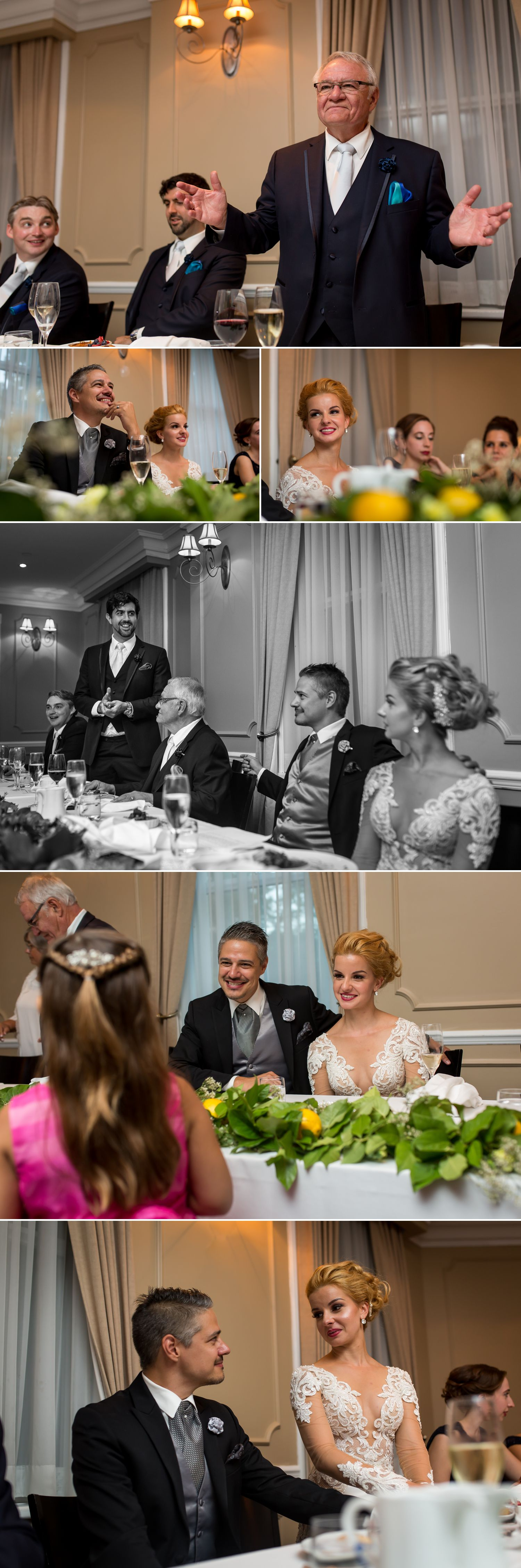 The bride and groom during speeches during their wedding reception at Le Cordon Bleu