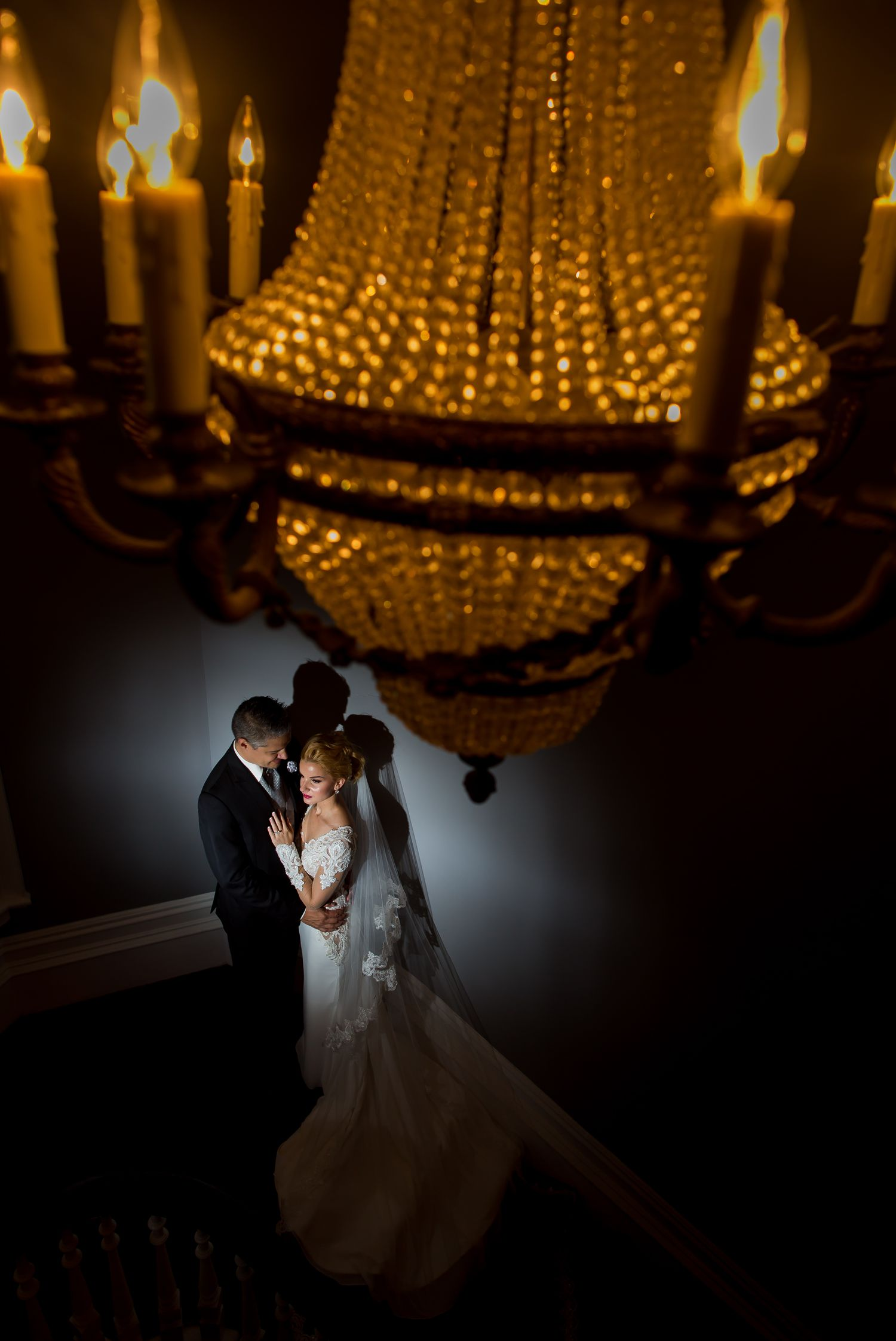 A night time portrait of the bride and groom after their wedding reception at Le Cordon Bleu