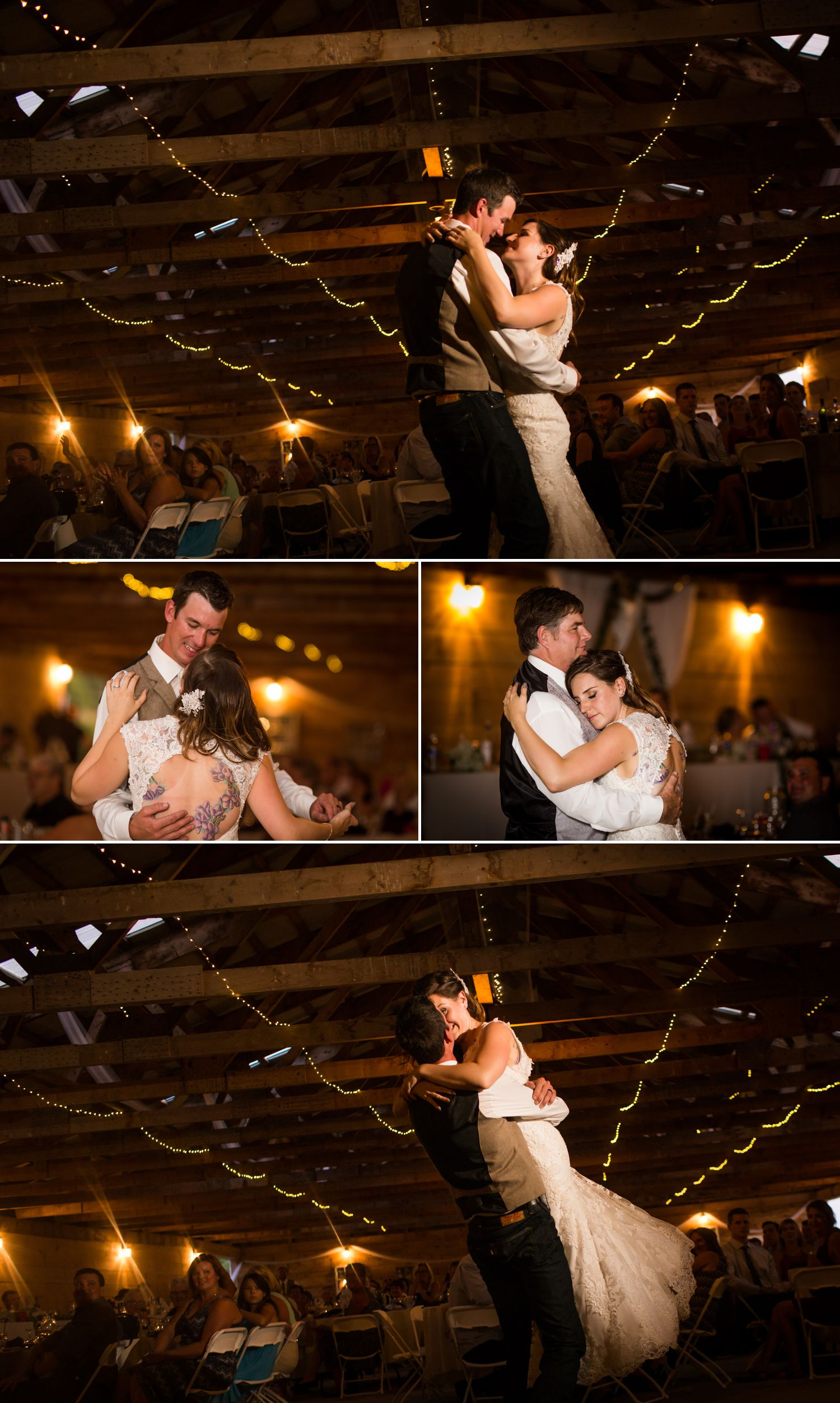 The bride and groom during their first dance inside their rustic barn