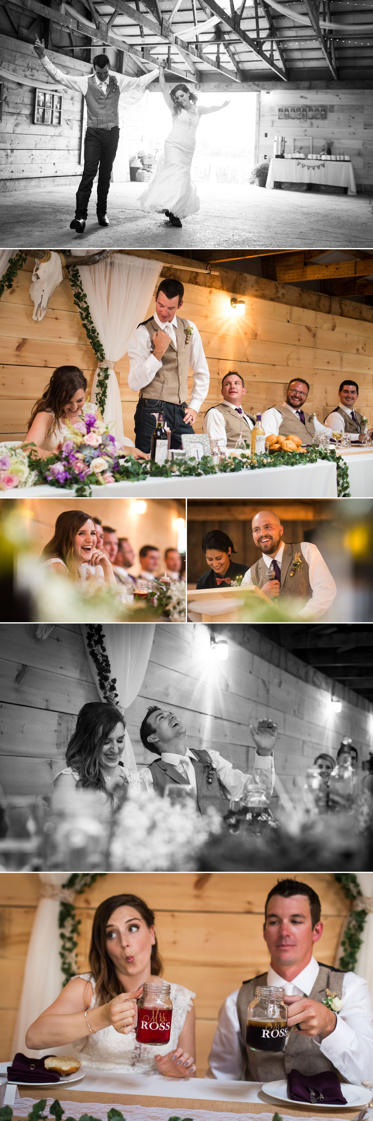 A wedding reception iside the couples newly renovated rustic barn