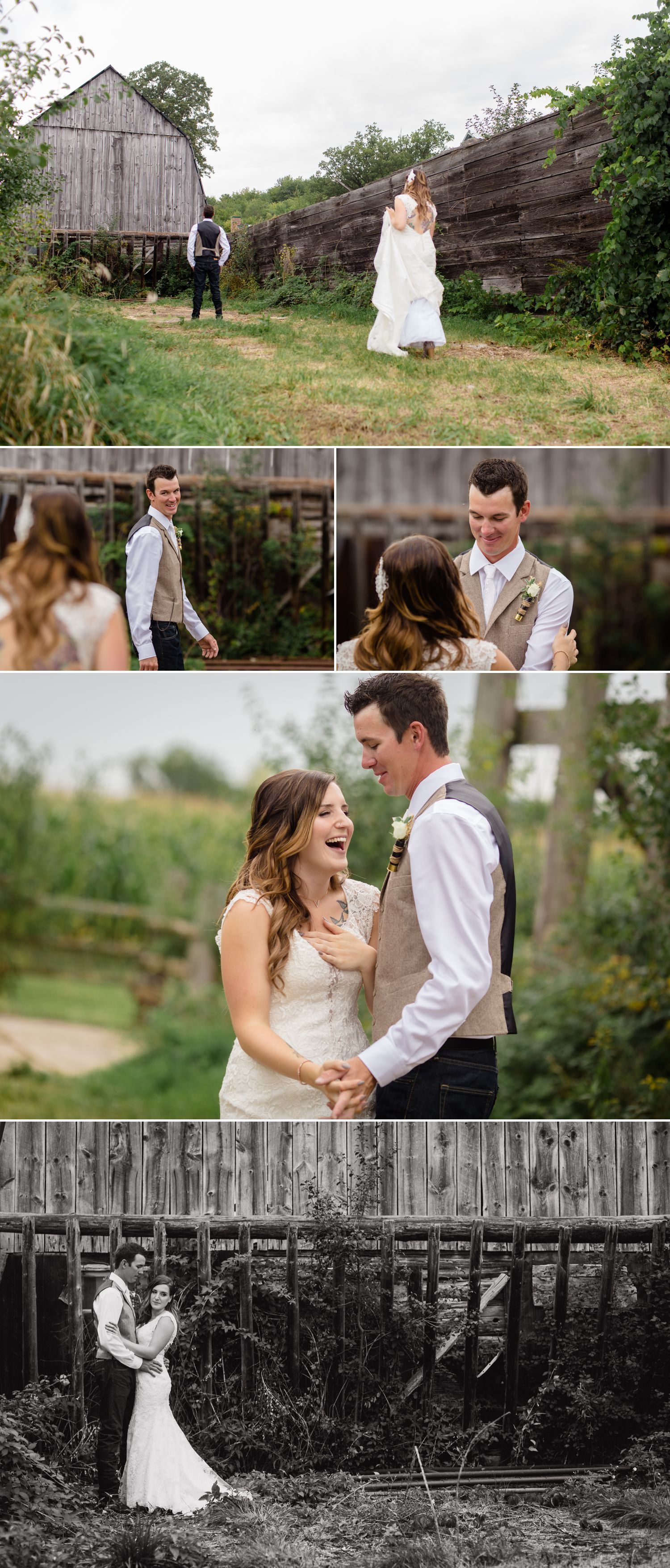 The bride and groom during their 'First Look' before their rustic barn wedding