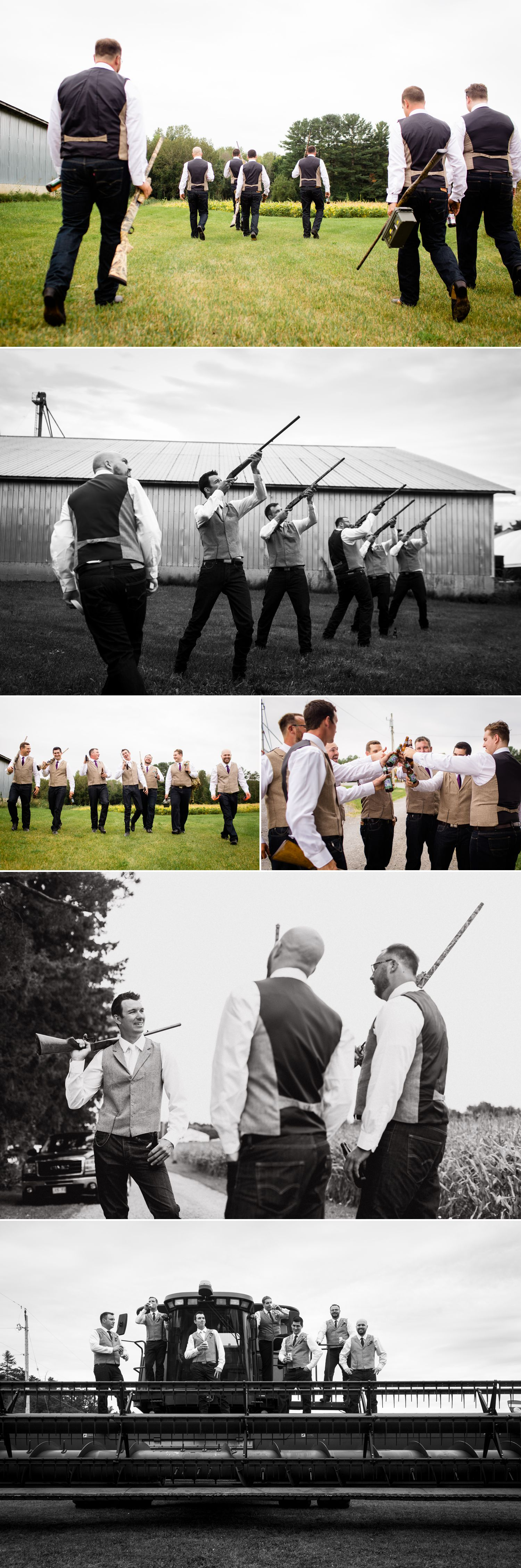 The groom and his groomsmen disk shooting before the wedding
