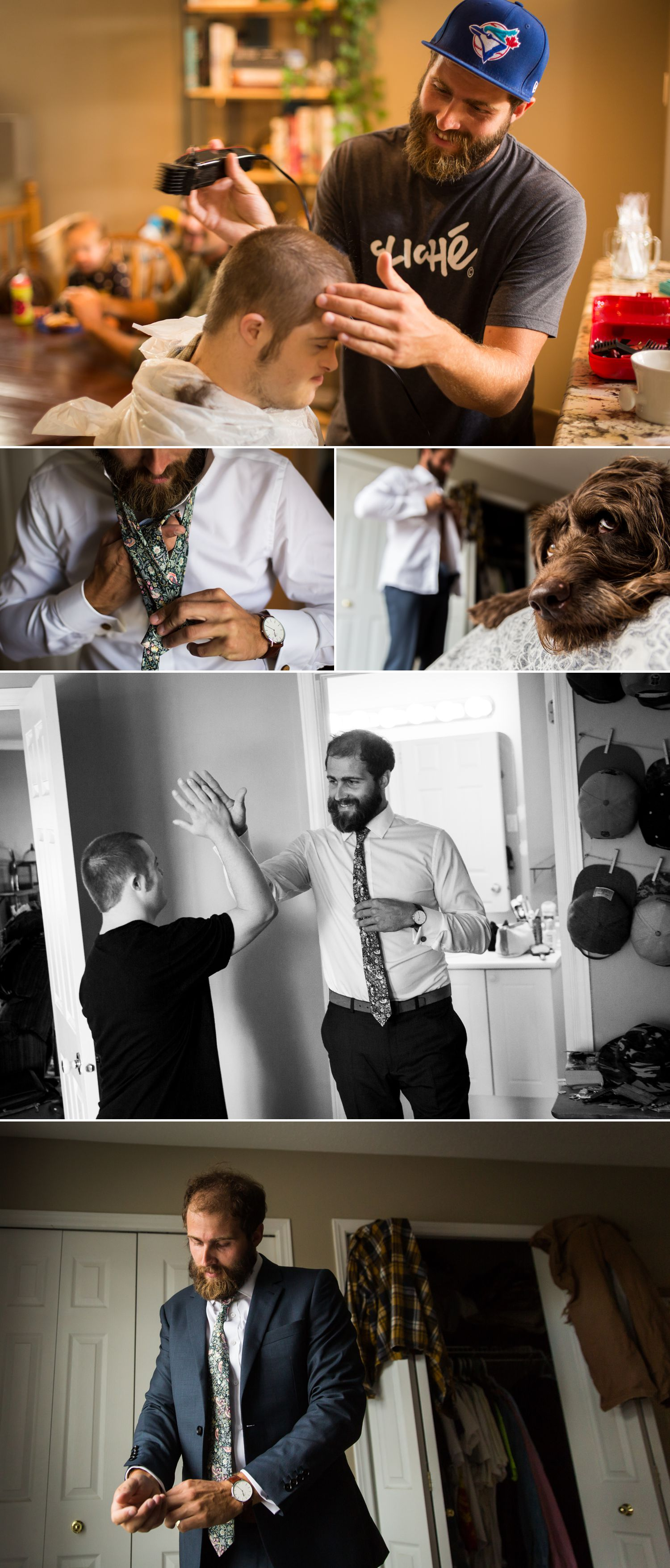 The groom getting ready with his brother at home