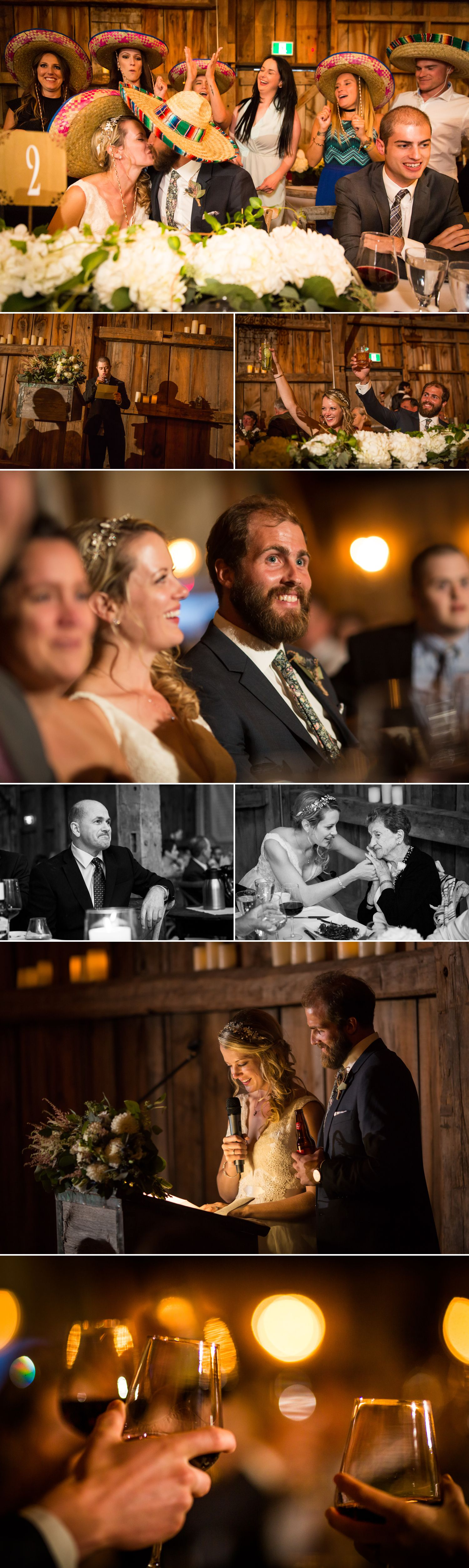 The bride and groom enjoying speeches during their wedding reception at Evermore