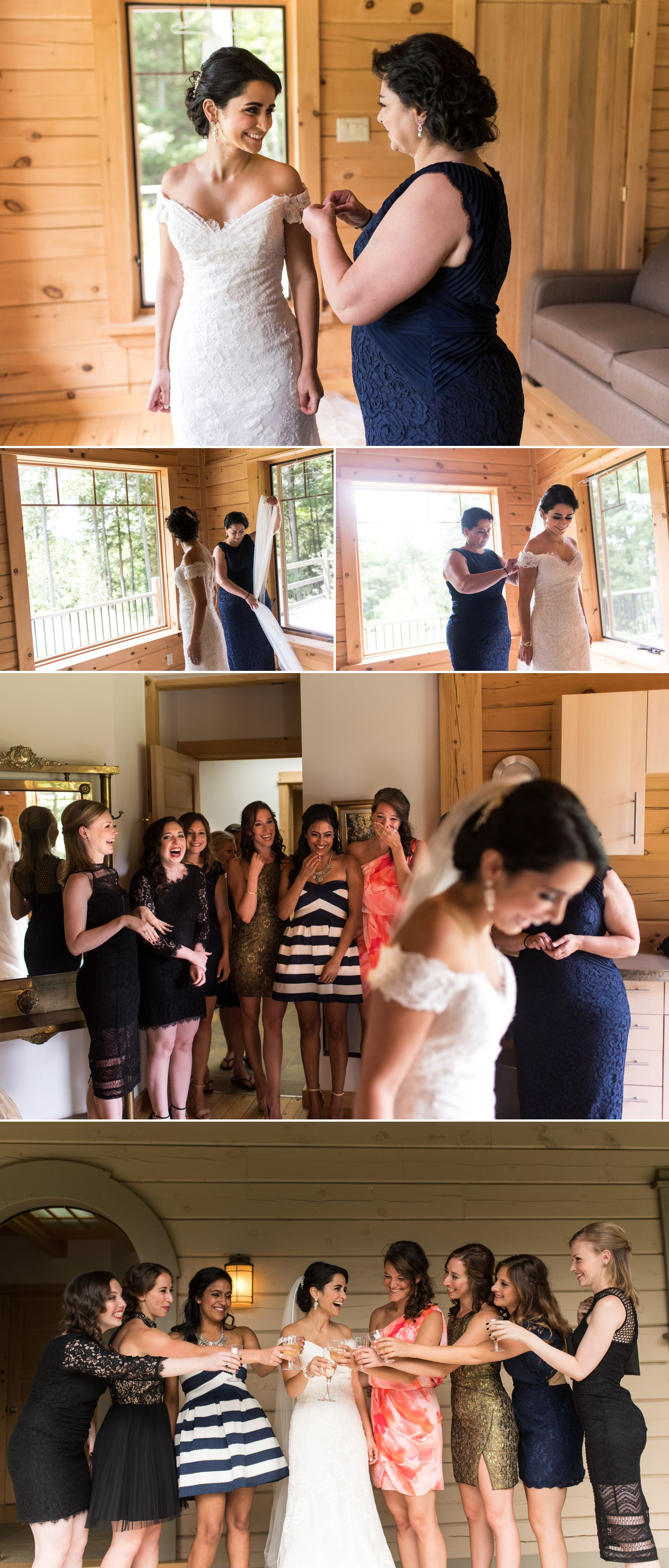 Bride and her friends together getting ready at Le Belvedere
