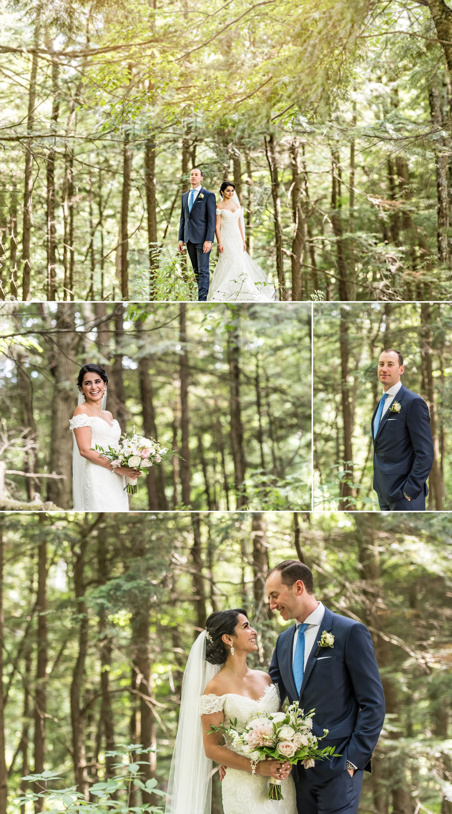 Portraits of the bride and groom outside Le Belvedere before their wedding ceremony