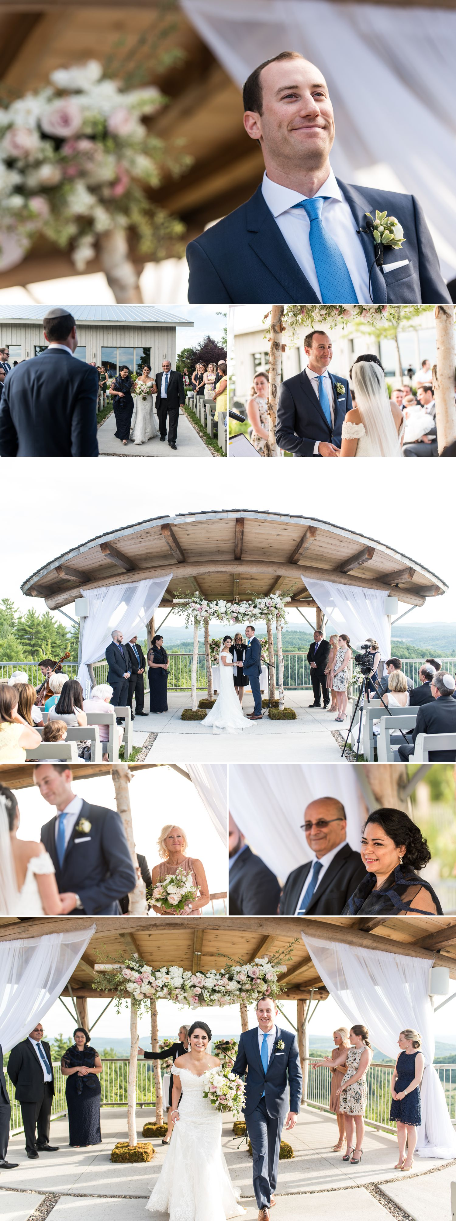A wedding reception outside at Le Belvedere in Wakefield