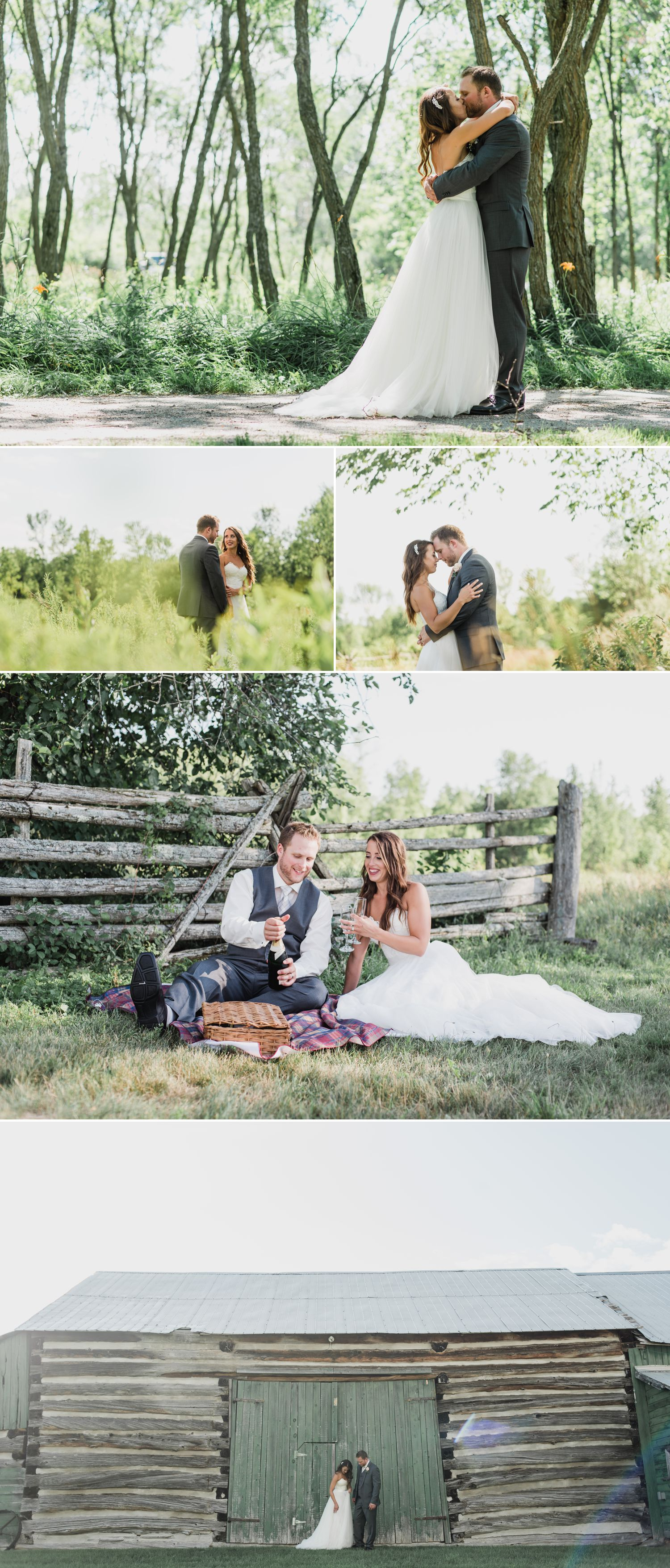 Portraits of the bride and groom outside at Stonefields Heritage Farm