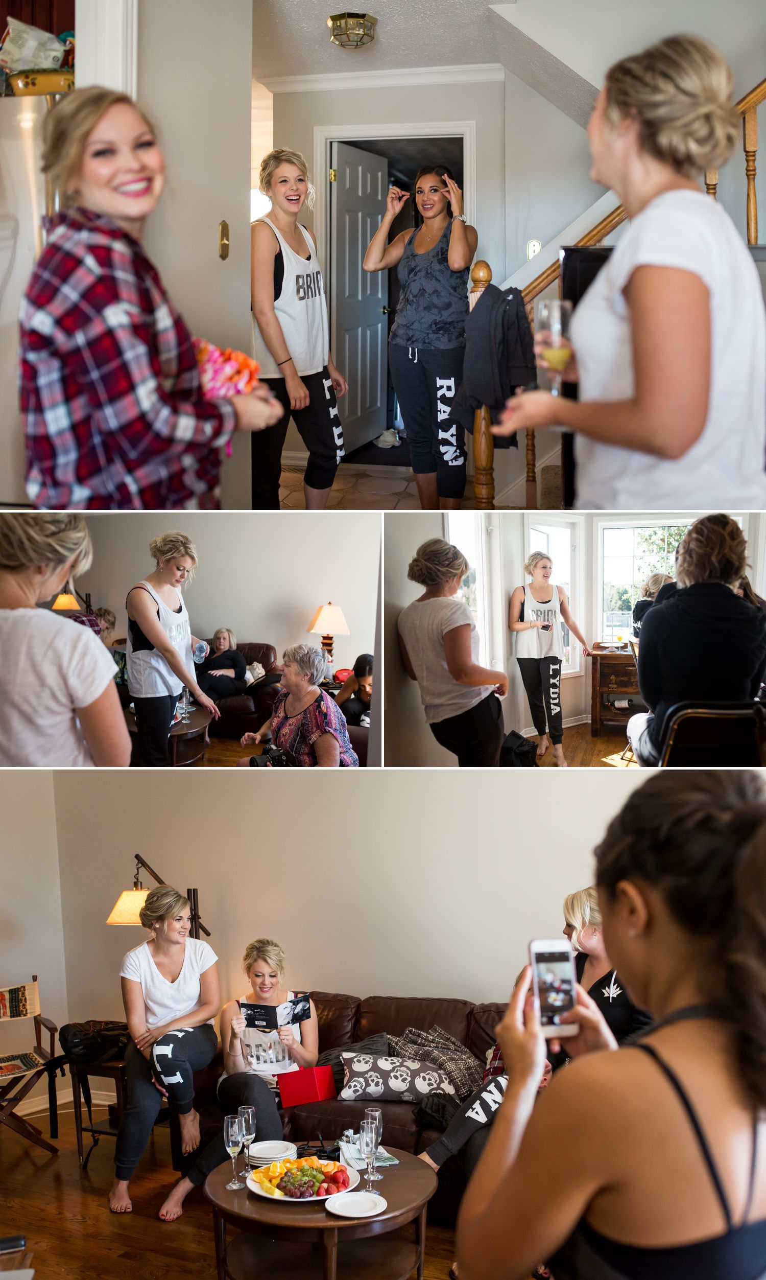 The bride getting ready at home with her bridesmaids and family