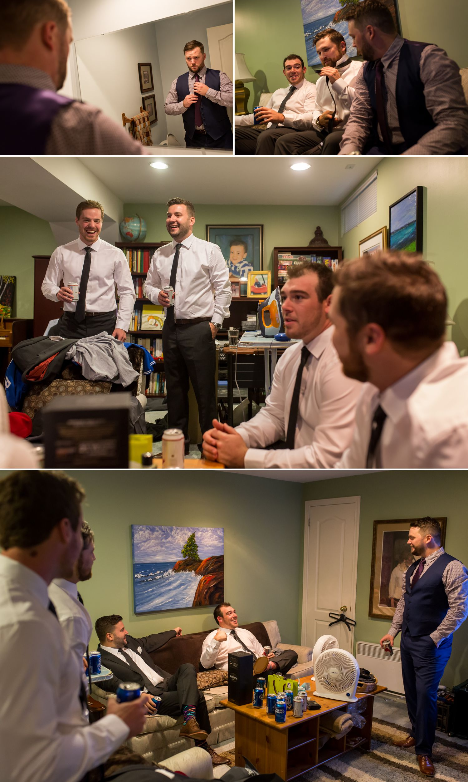 The groom getting ready at home with his groomsmen