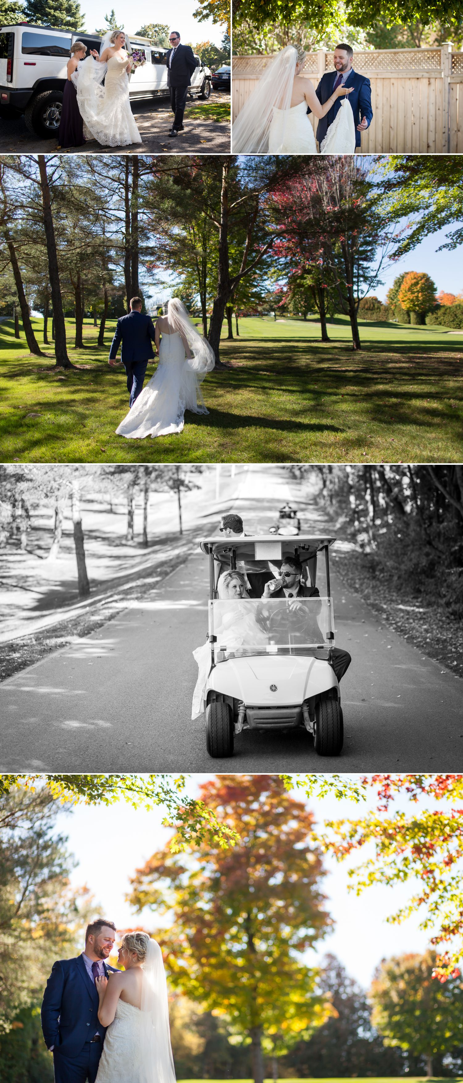 The bride and groom during their first look and heading to their venue
