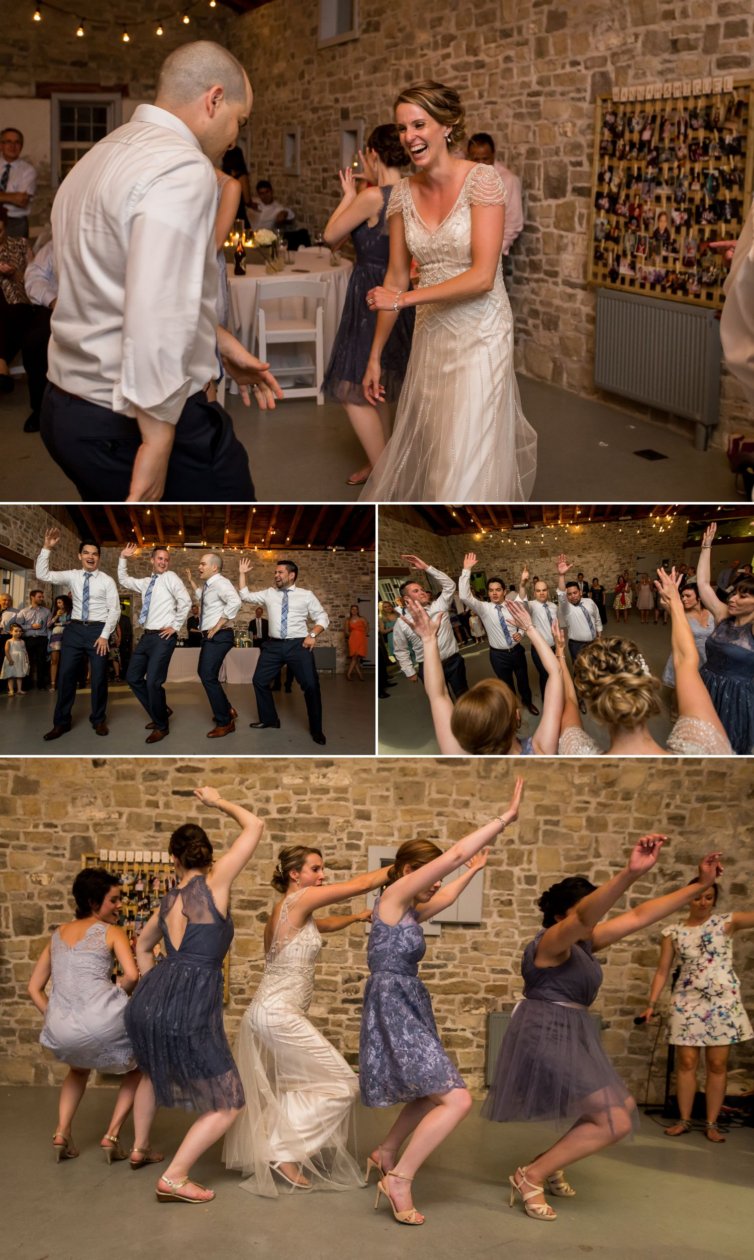 The bride and groom dancing with their wedding party and guests during their wedding reception inside the stone carriage house at Ruthven Heritage Estate