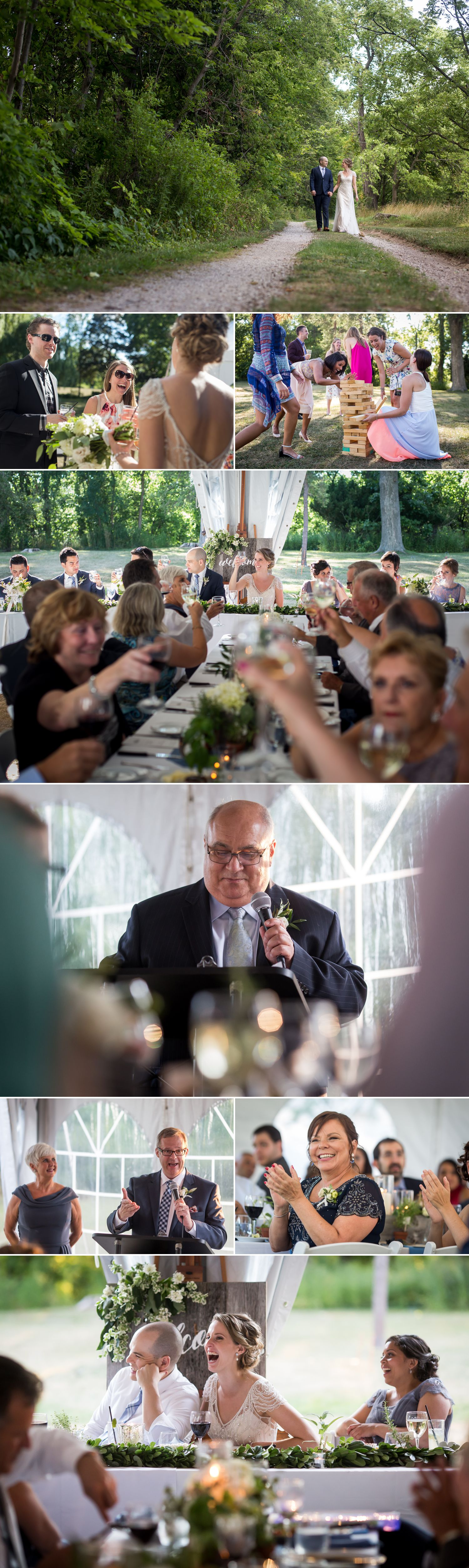 An outdoor tented wedding reception taking place at Ruthven Heritage Estate