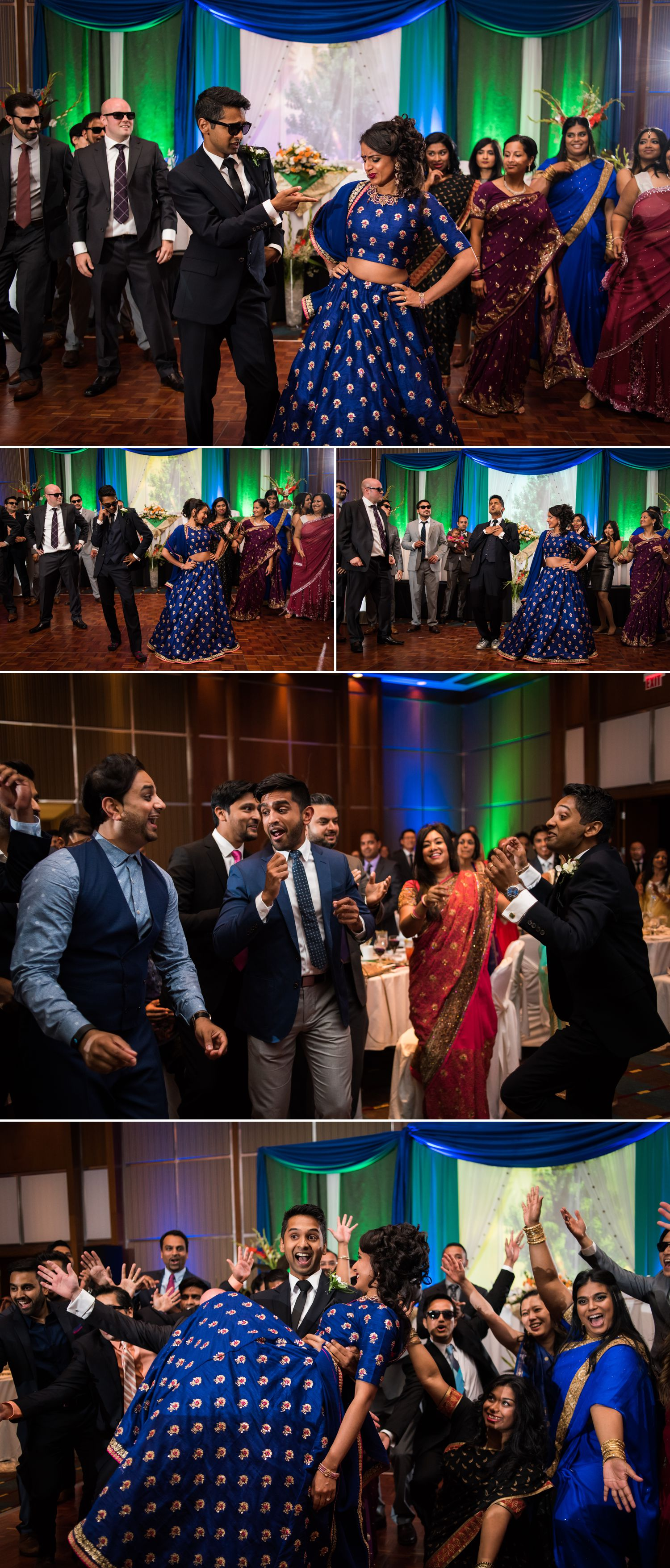 The bride and groom during their entrance dance at their Brookstreet Hotel Indian Wedding Reception