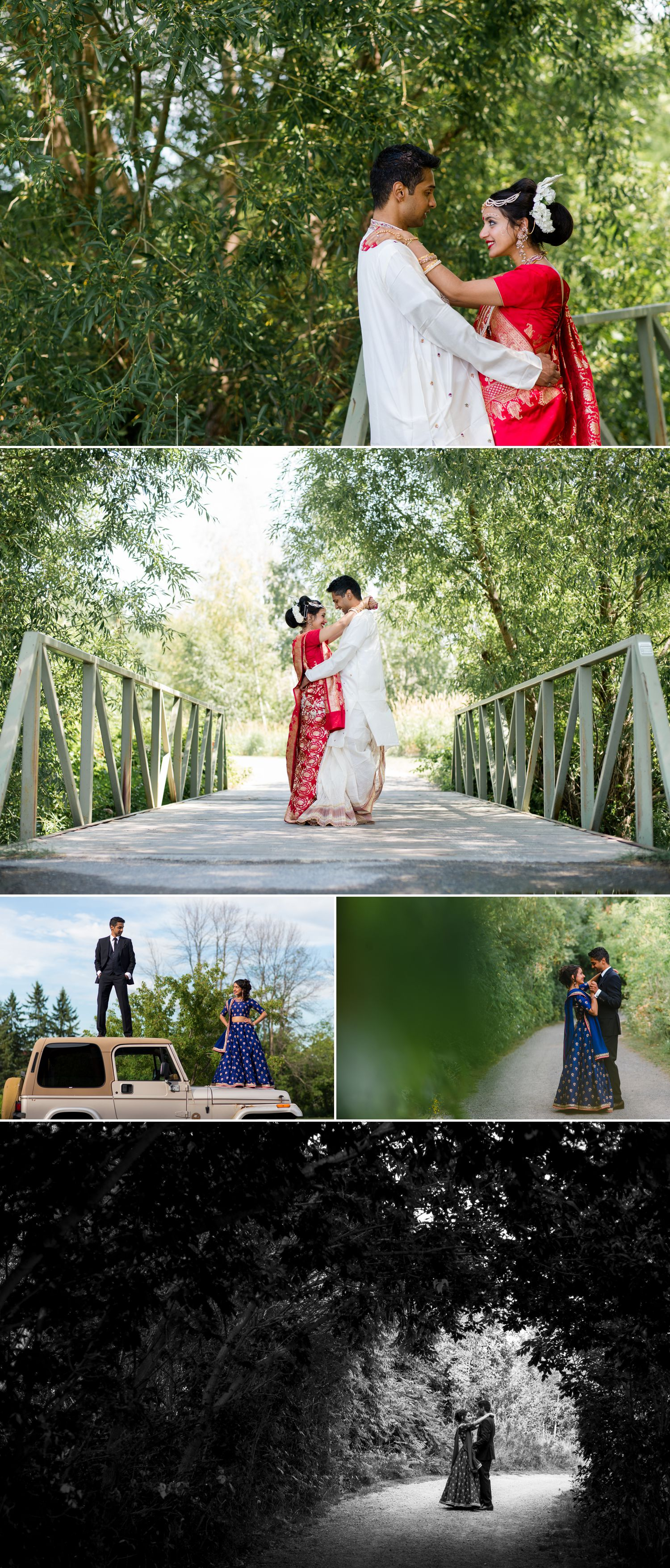Portraits of the bride and groom in both their traditional Indian Wedding and Reception outfits